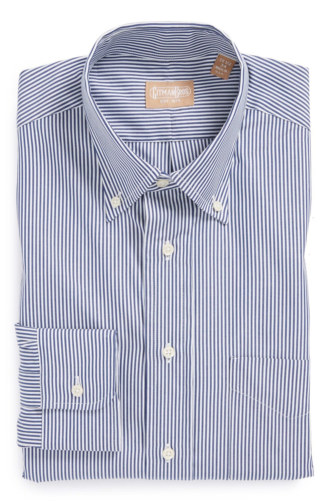 Regular Fit Bengal Stripe Cotton Broadcloth Button Down Dress Shirt,                         Main,                         color, NAVY