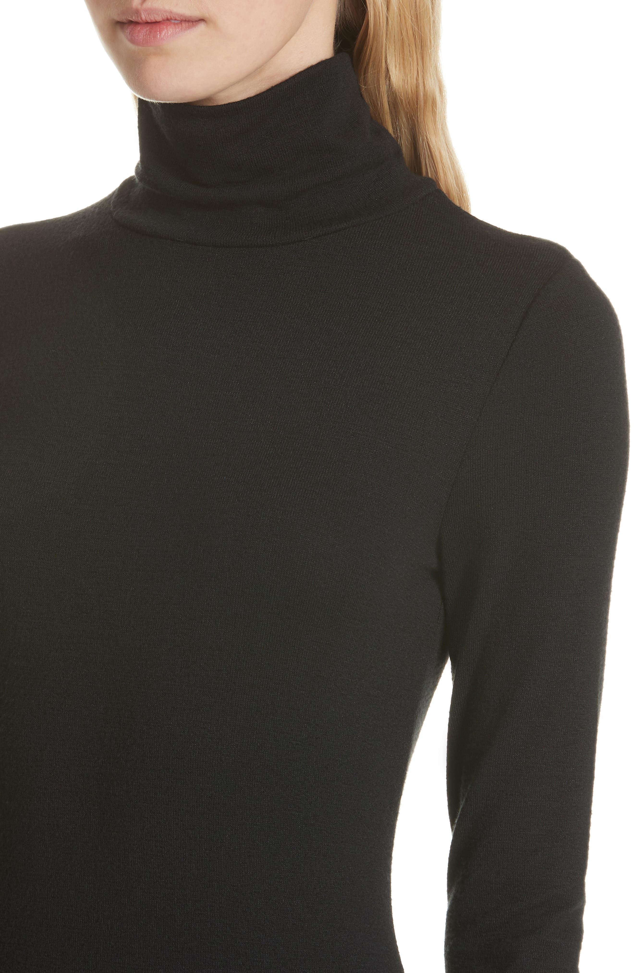Landon Turtleneck Minidress,                             Alternate thumbnail 4, color,                             BLACK