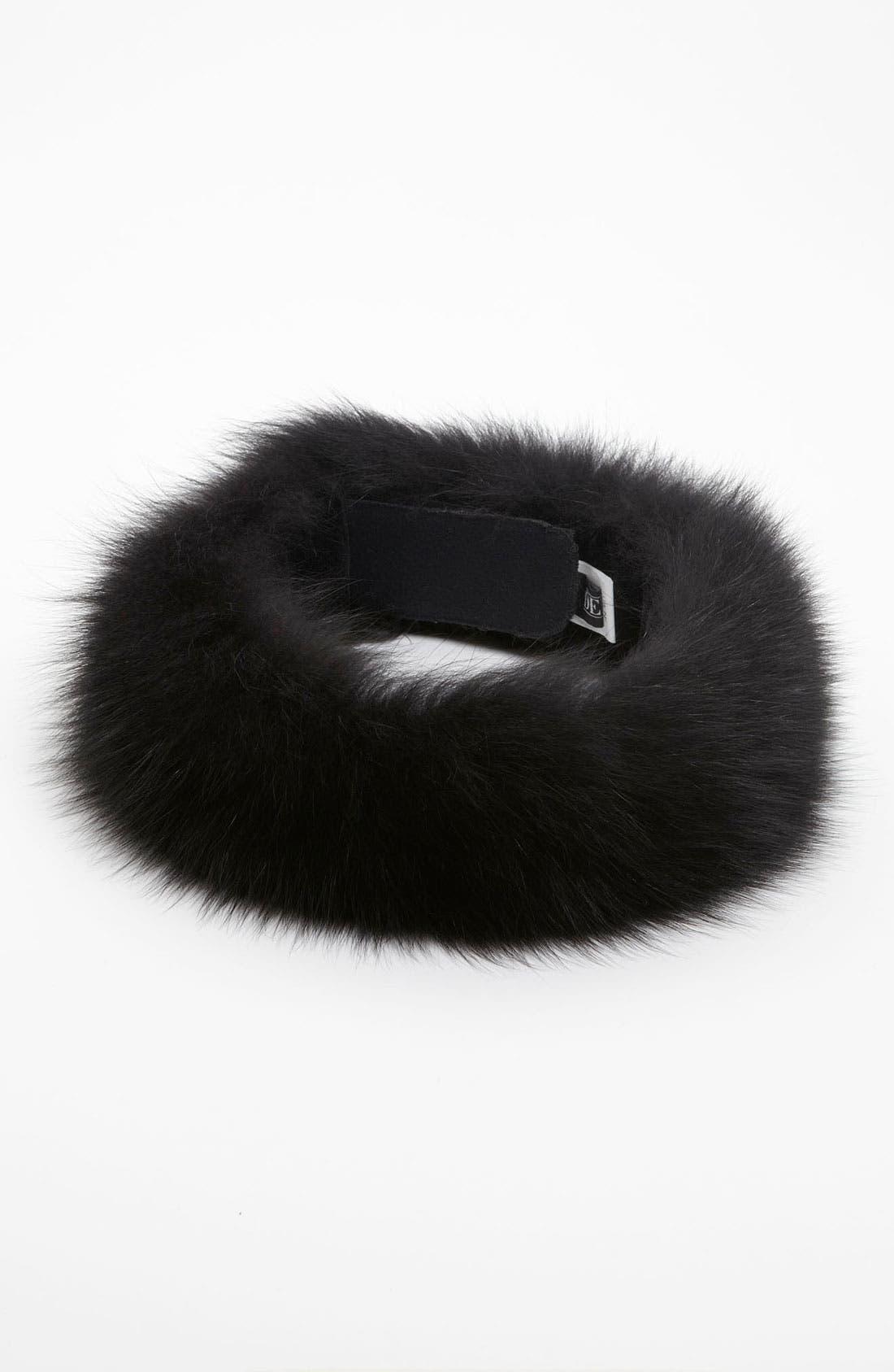 Products Genuine Fox Fur Head Wrap,                             Main thumbnail 1, color,                             001