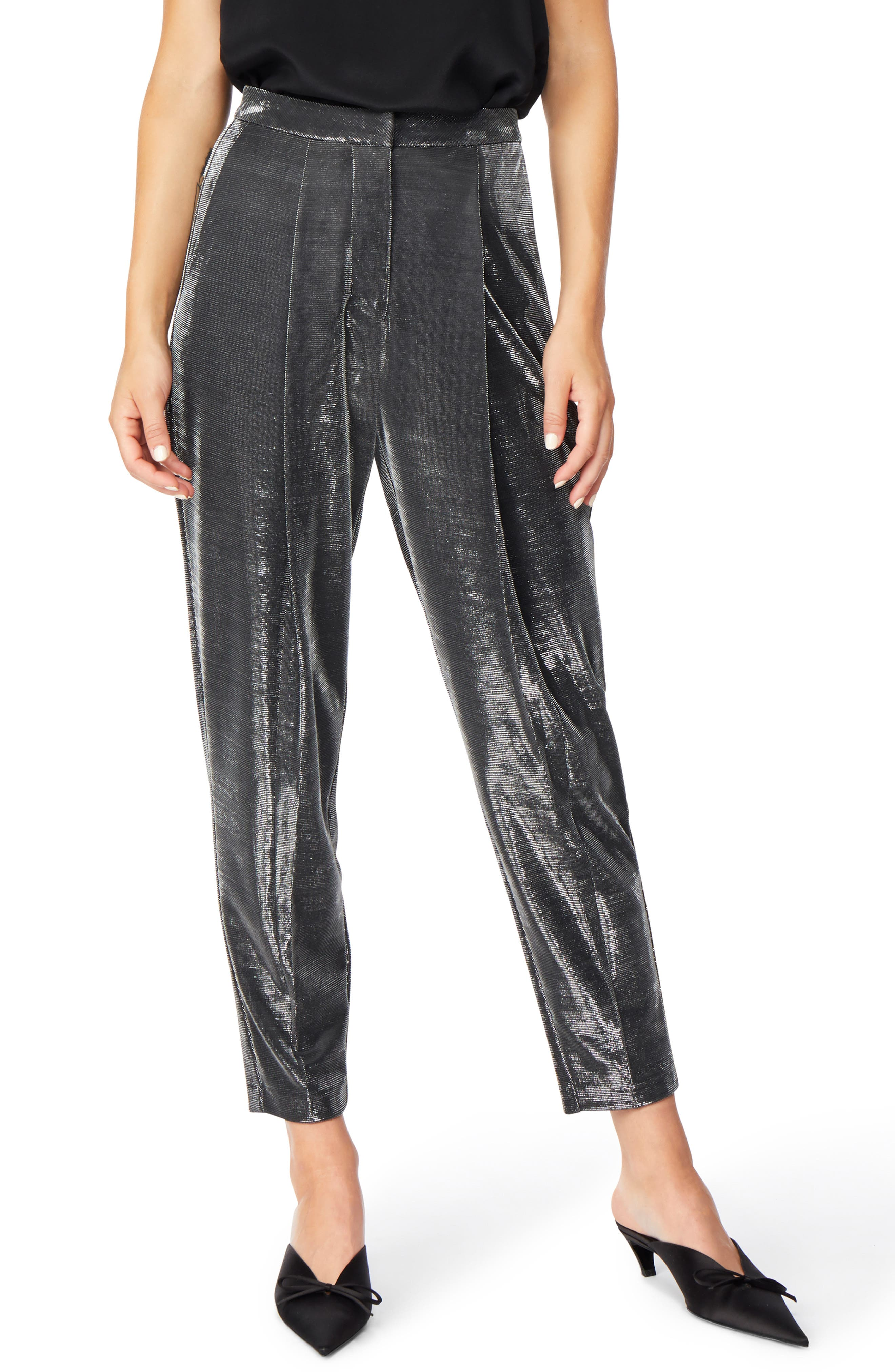Shimmer Trousers,                             Main thumbnail 1, color,                             JET BLACK WITH SILVER