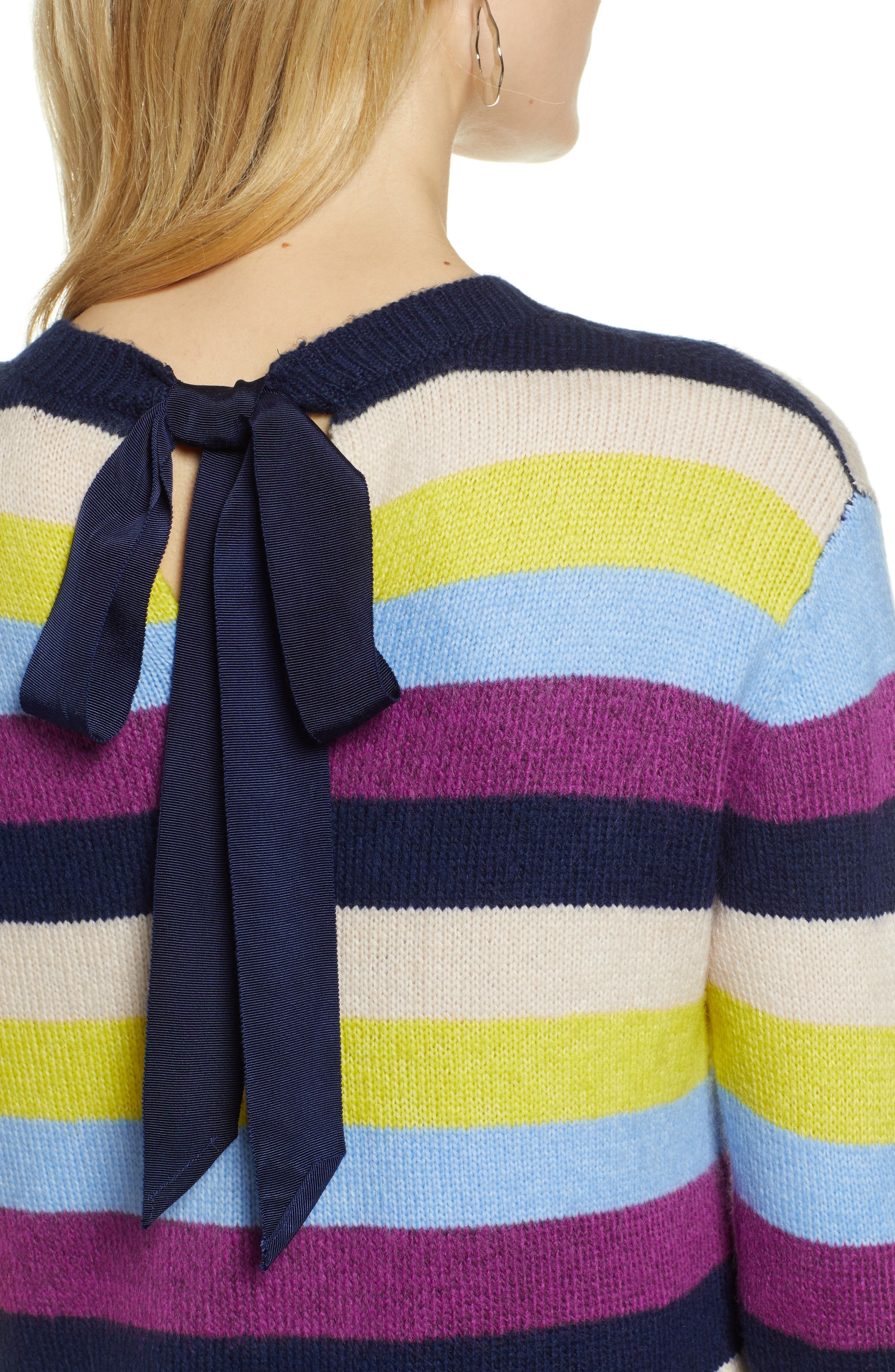 Bow Back Sweater,                             Alternate thumbnail 4, color,                             NAVY MULTI STRIPE