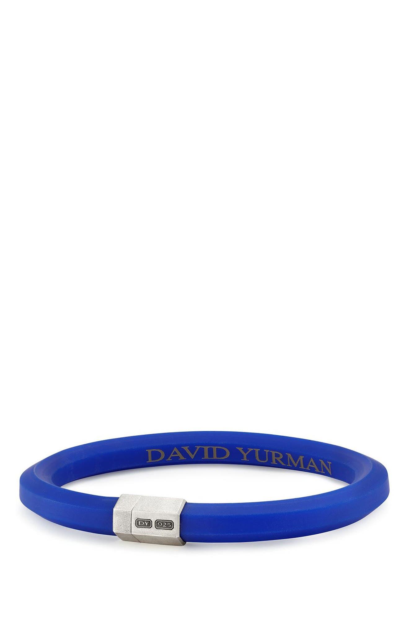 Streamline Rubber ID Bracelet in Black,                             Main thumbnail 1, color,                             BLUE