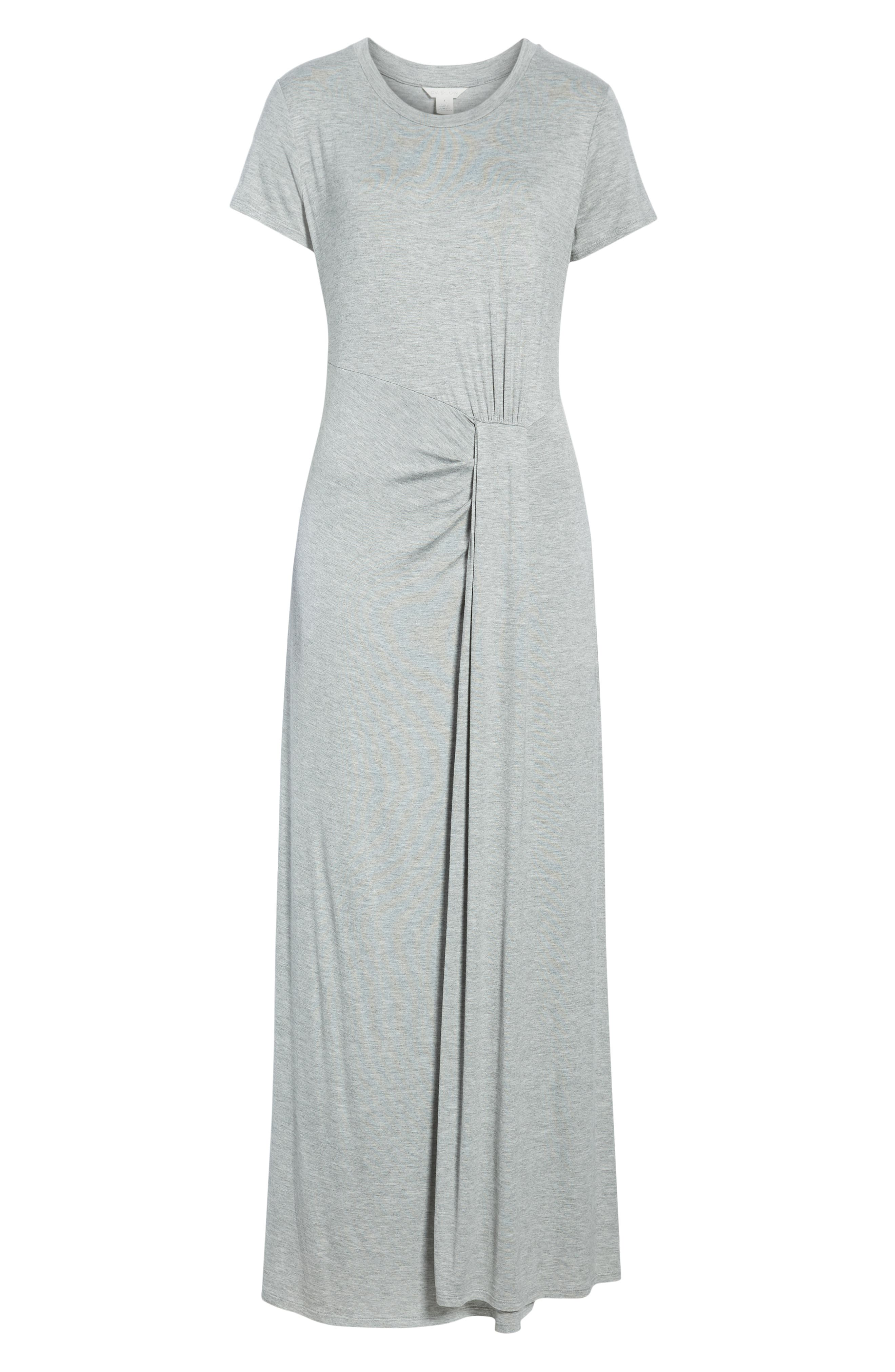 CASLON<SUP>®</SUP>,                             Front Gathered Maxi Dress,                             Alternate thumbnail 7, color,                             GREY HEATHER