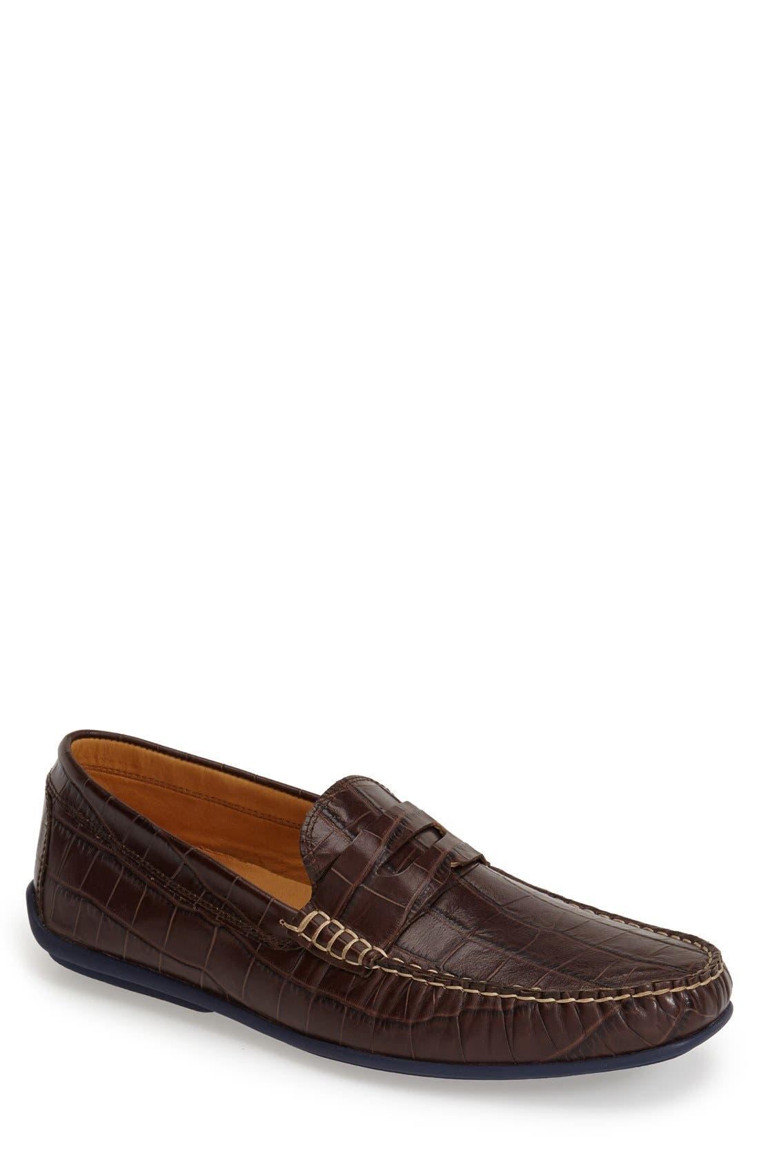 'Waverly' Leather Penny Loafer,                             Main thumbnail 1, color,                             BROWN