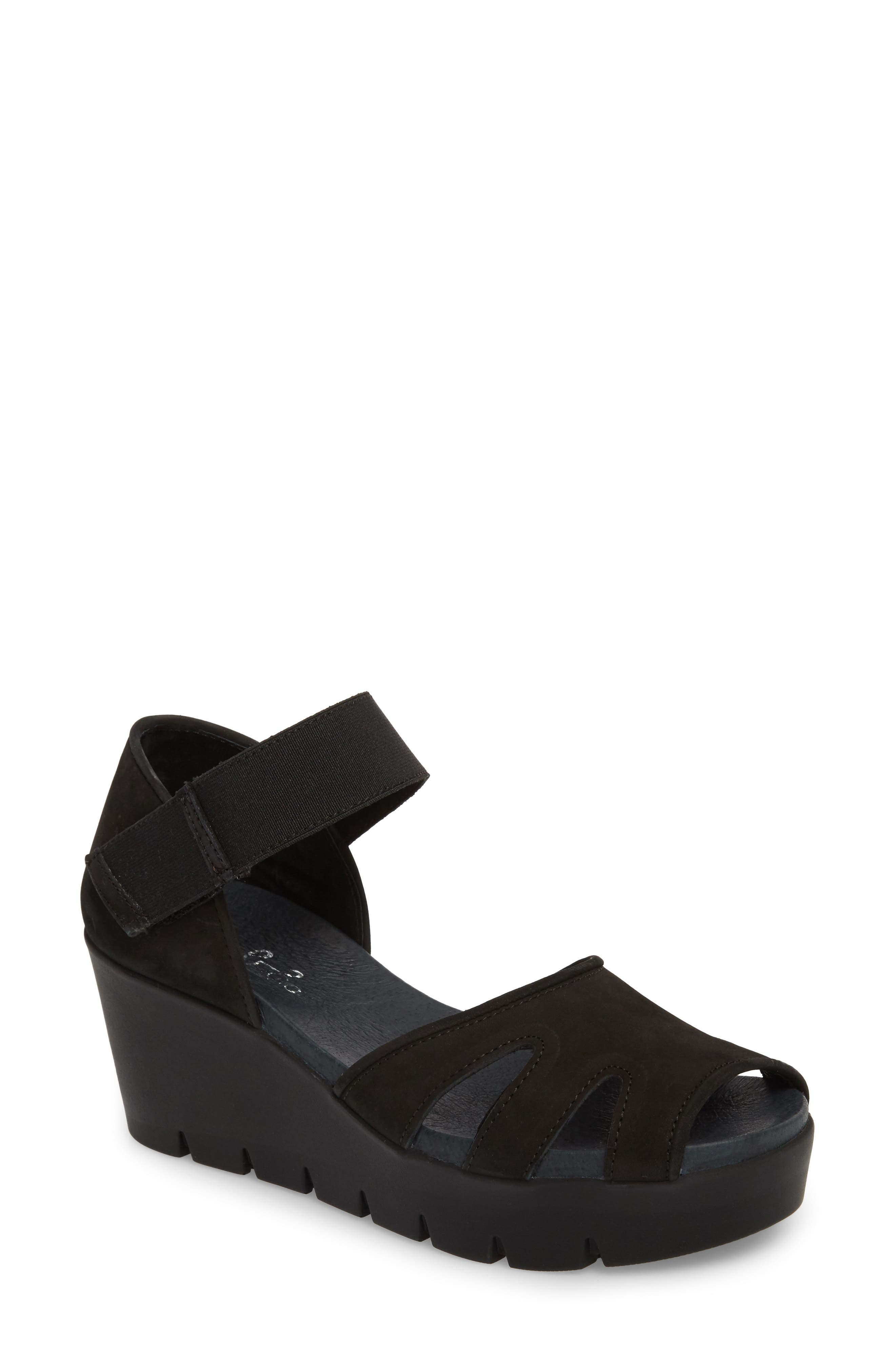Sharon Platform Wedge Sandal,                             Main thumbnail 1, color,                             BLACK NUBUCK LEATHER