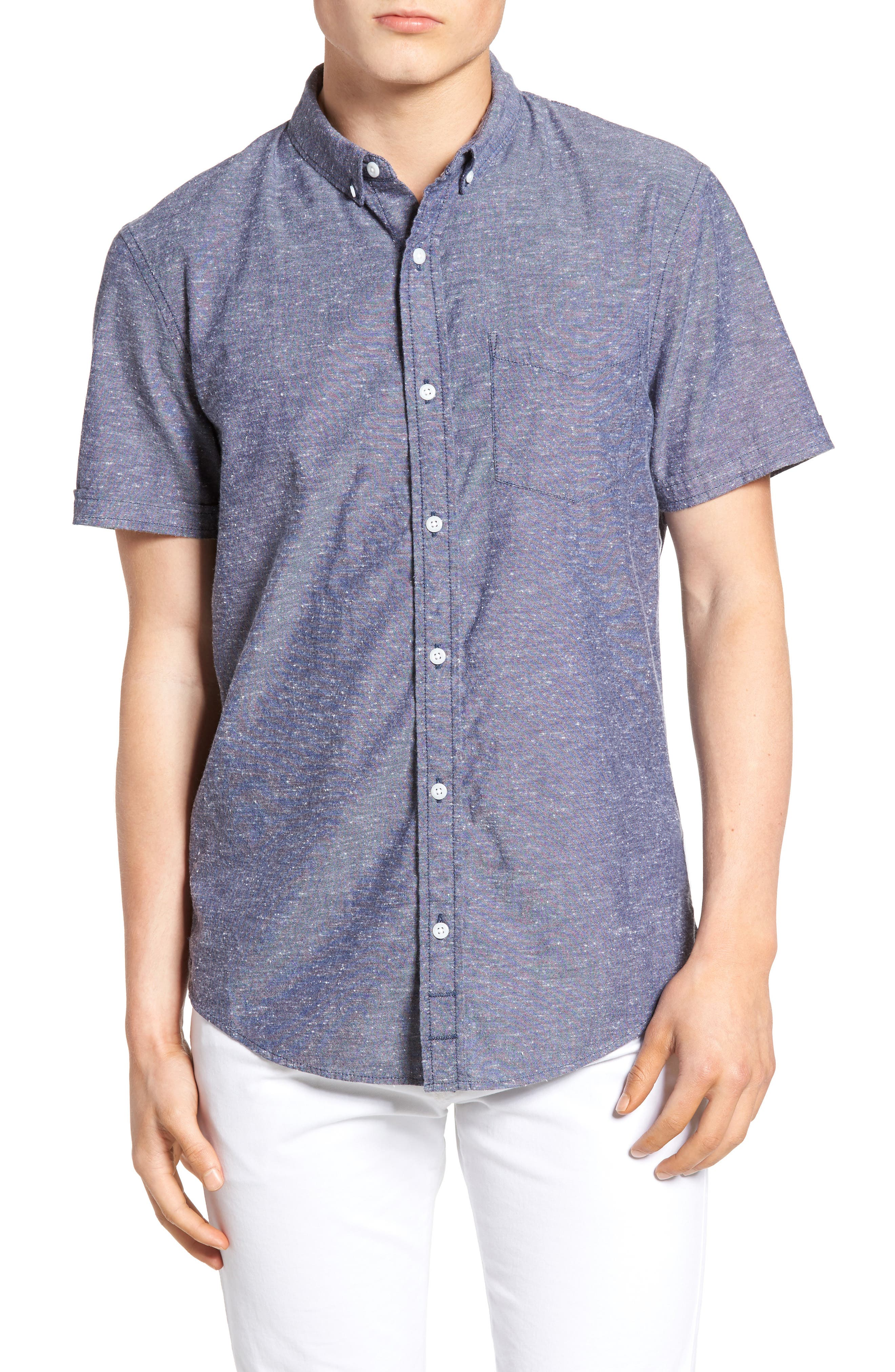 Placed Stripe Chambray Shirt,                         Main,                         color, 410