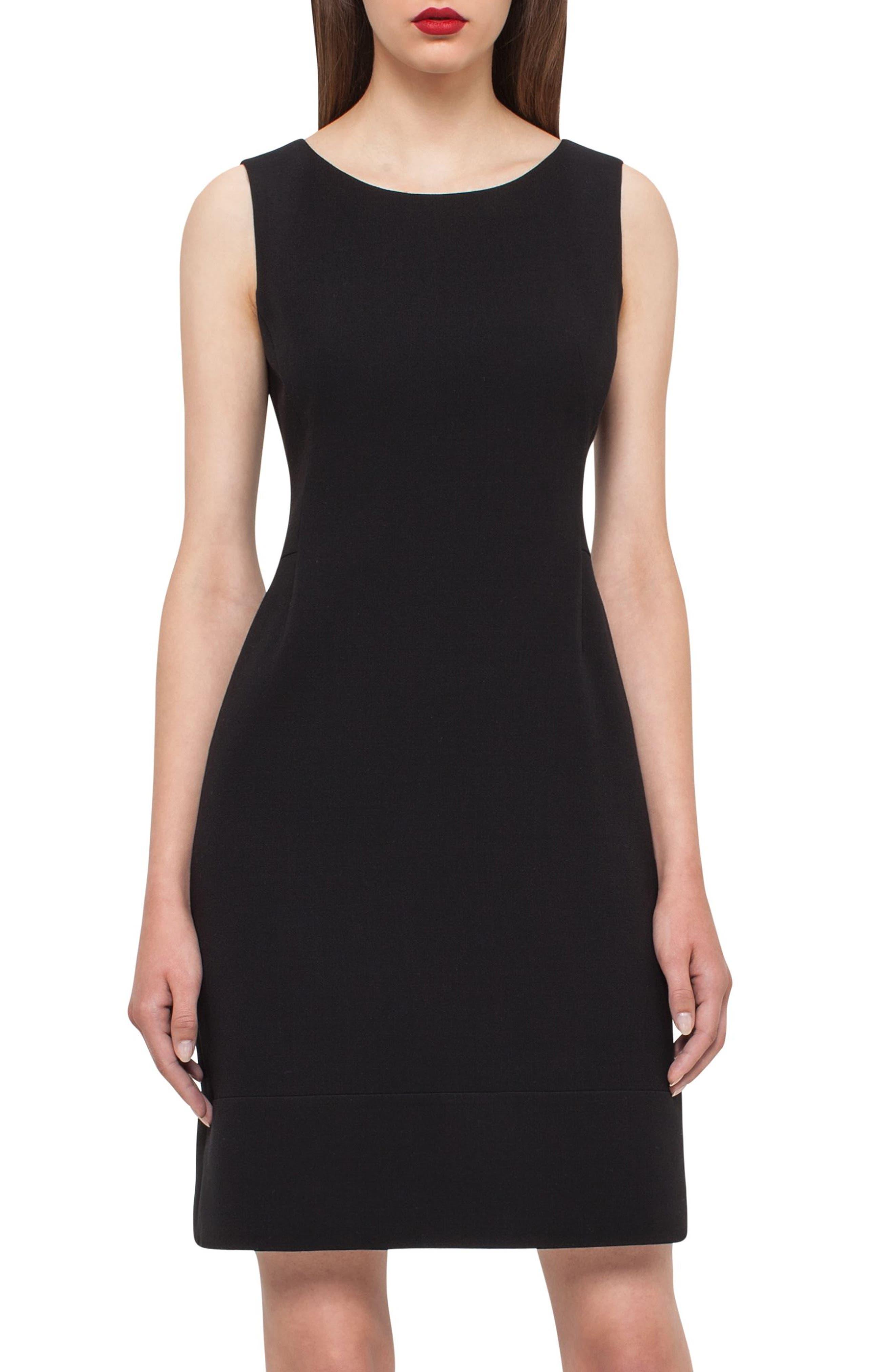 Double Face Wool Blend Dress,                             Alternate thumbnail 5, color,                             BLACK