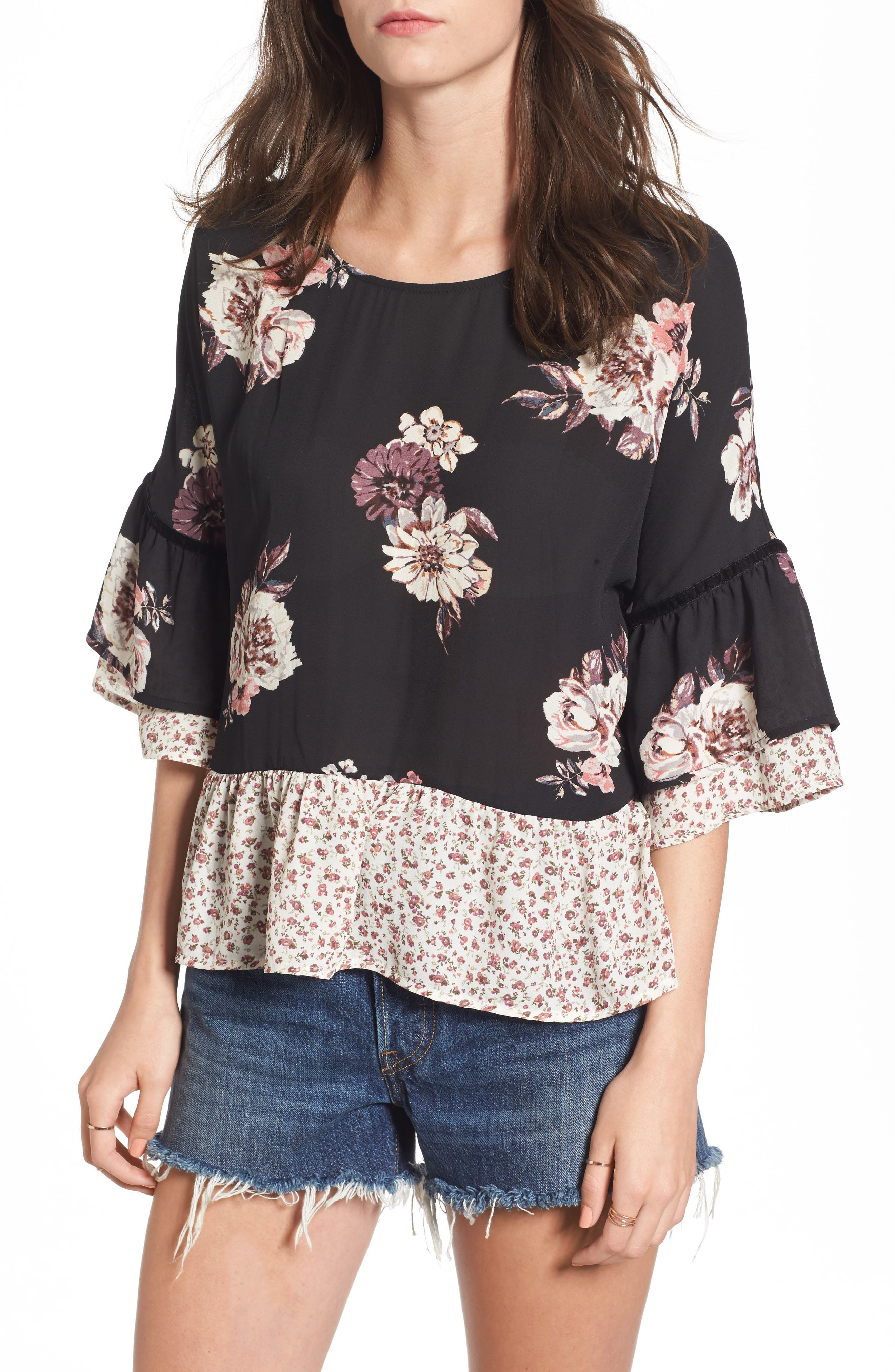 Remix Floral Peplum Top,                             Main thumbnail 1, color,                             001