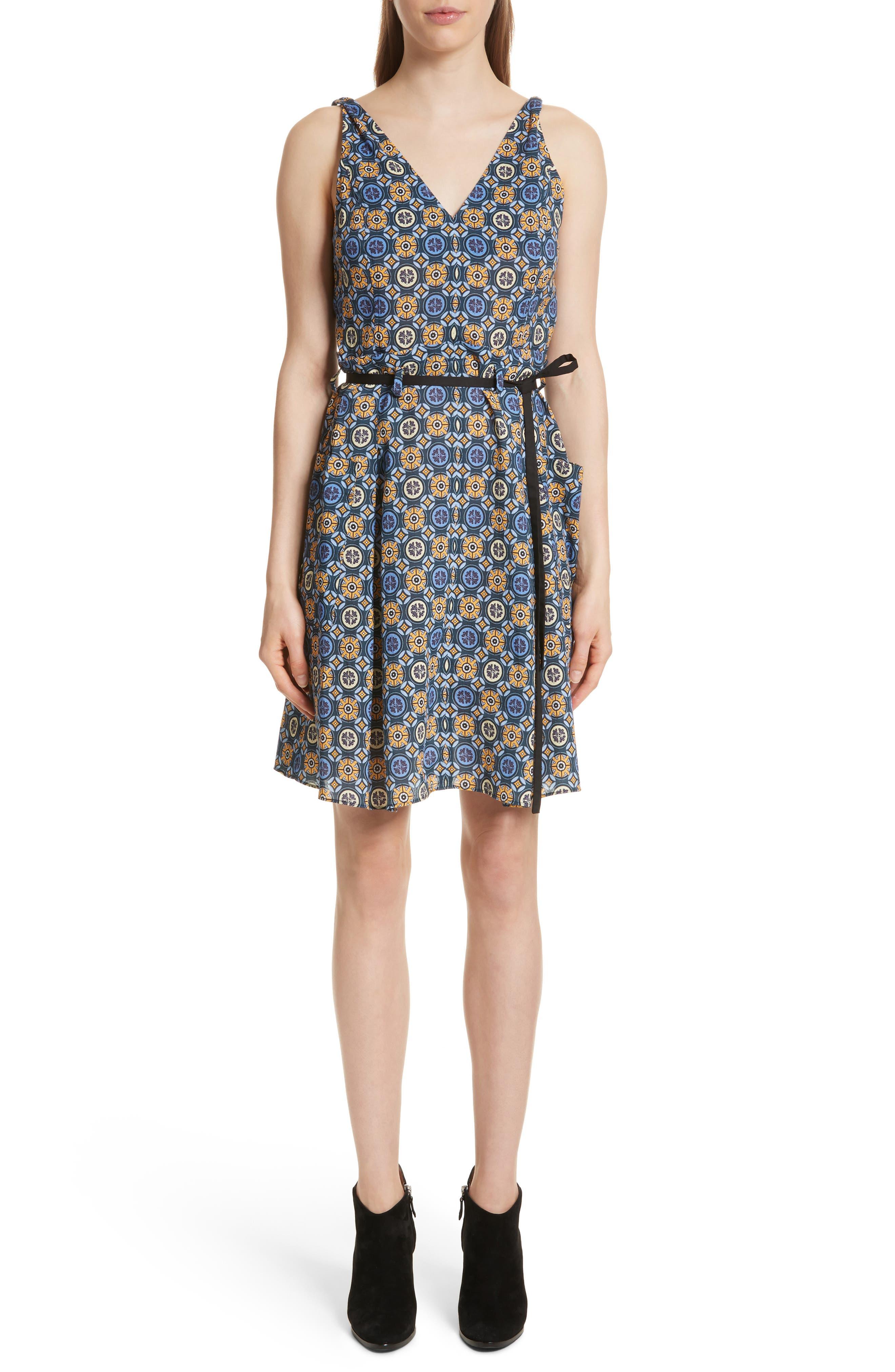 Tile Pattern Cotton Dress,                             Main thumbnail 1, color,
