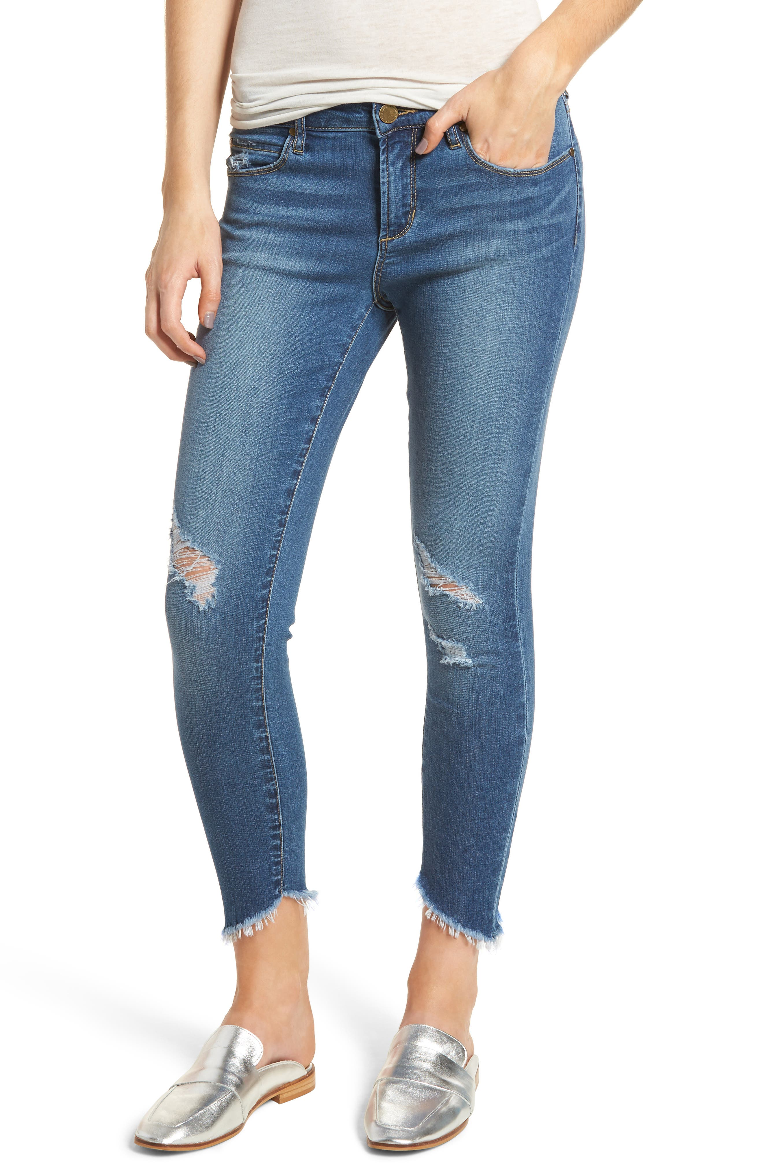 Sammy Distressed Crop Skinny Jeans,                             Main thumbnail 1, color,                             400
