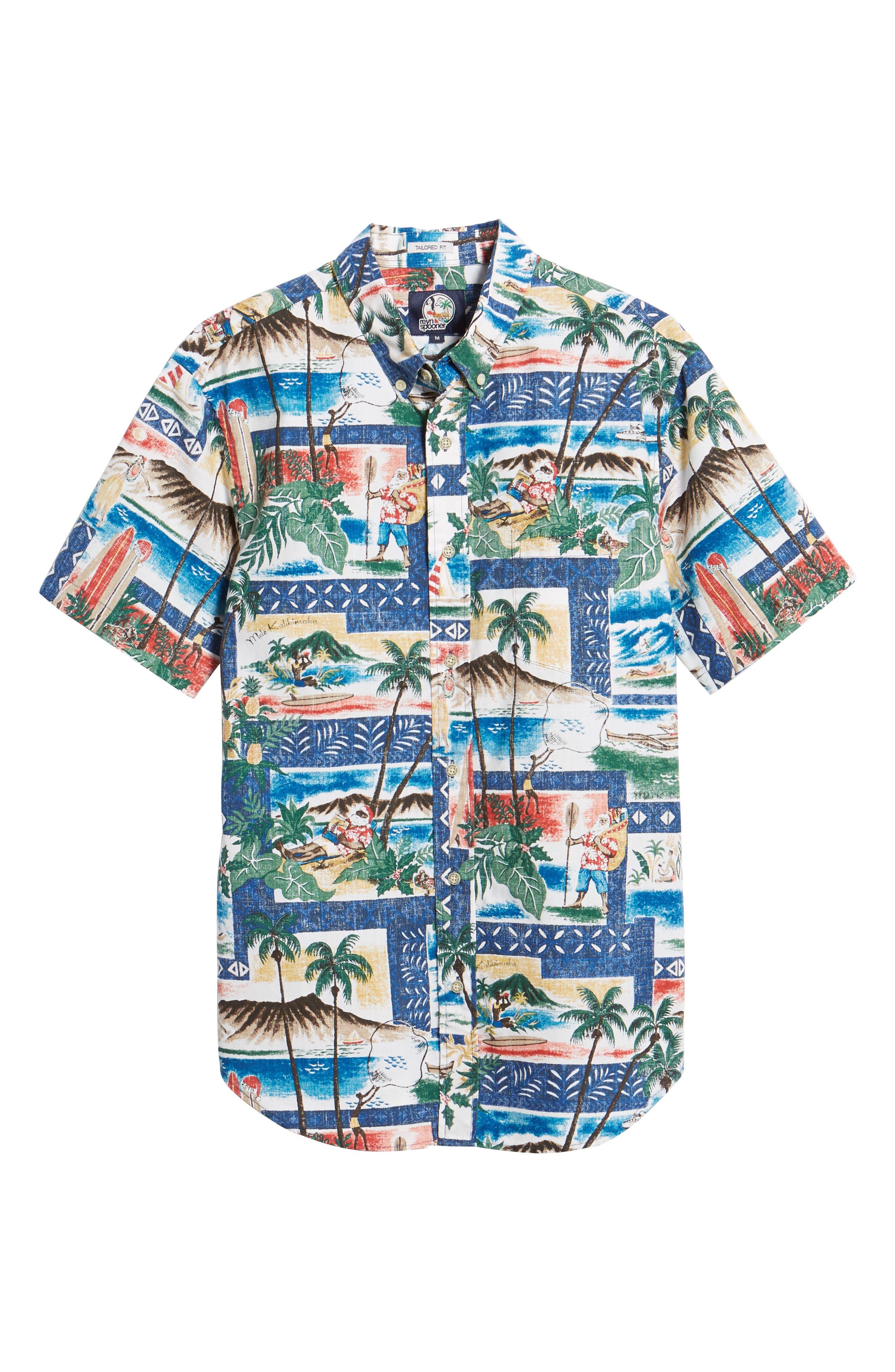 Hawaiian Christmas 2018 Tailored Fit Sport Shirt,                             Alternate thumbnail 5, color,                             ROYAL