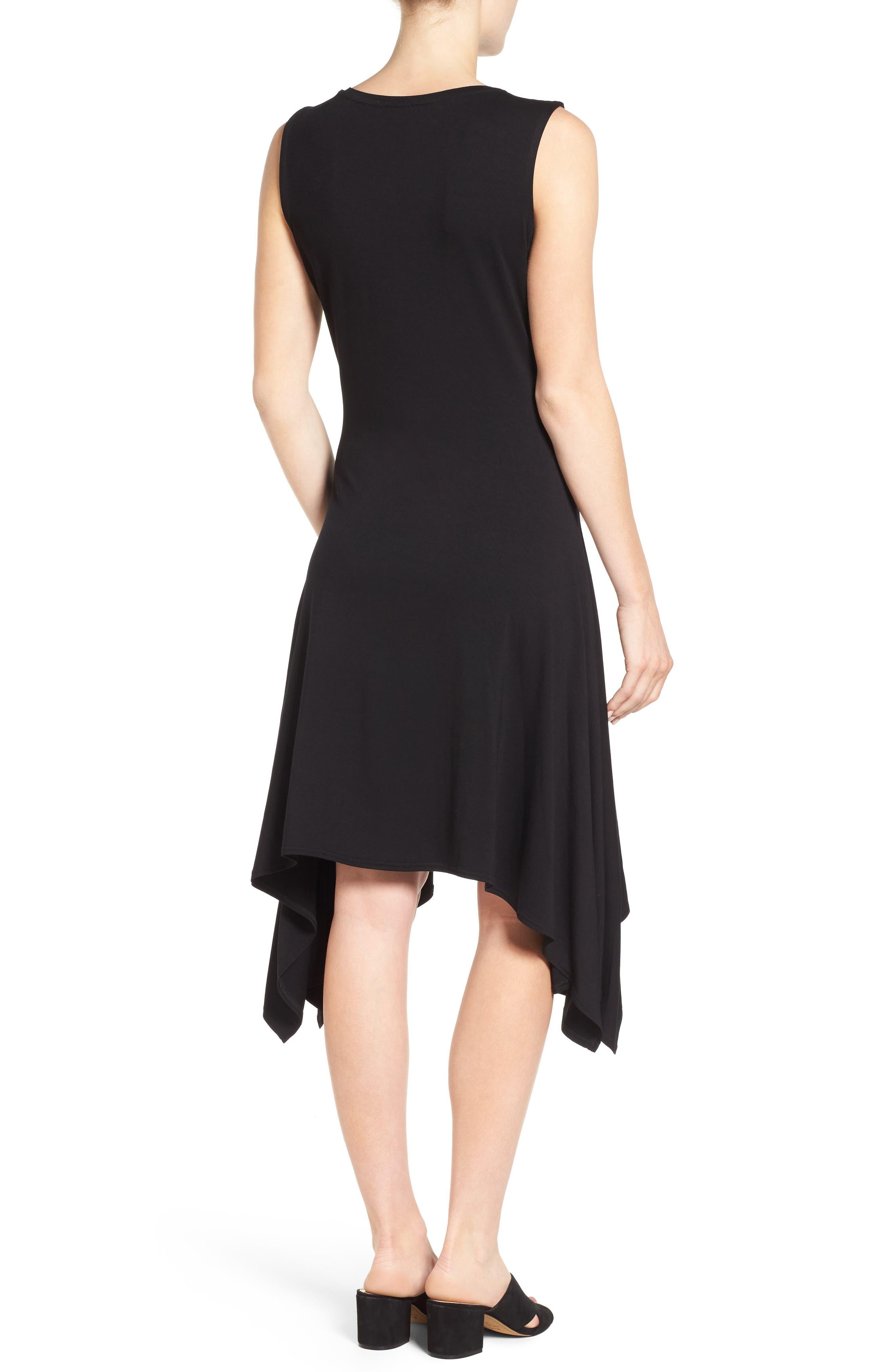 Stretch Knit Shift Dress,                             Alternate thumbnail 2, color,                             RICH BLACK