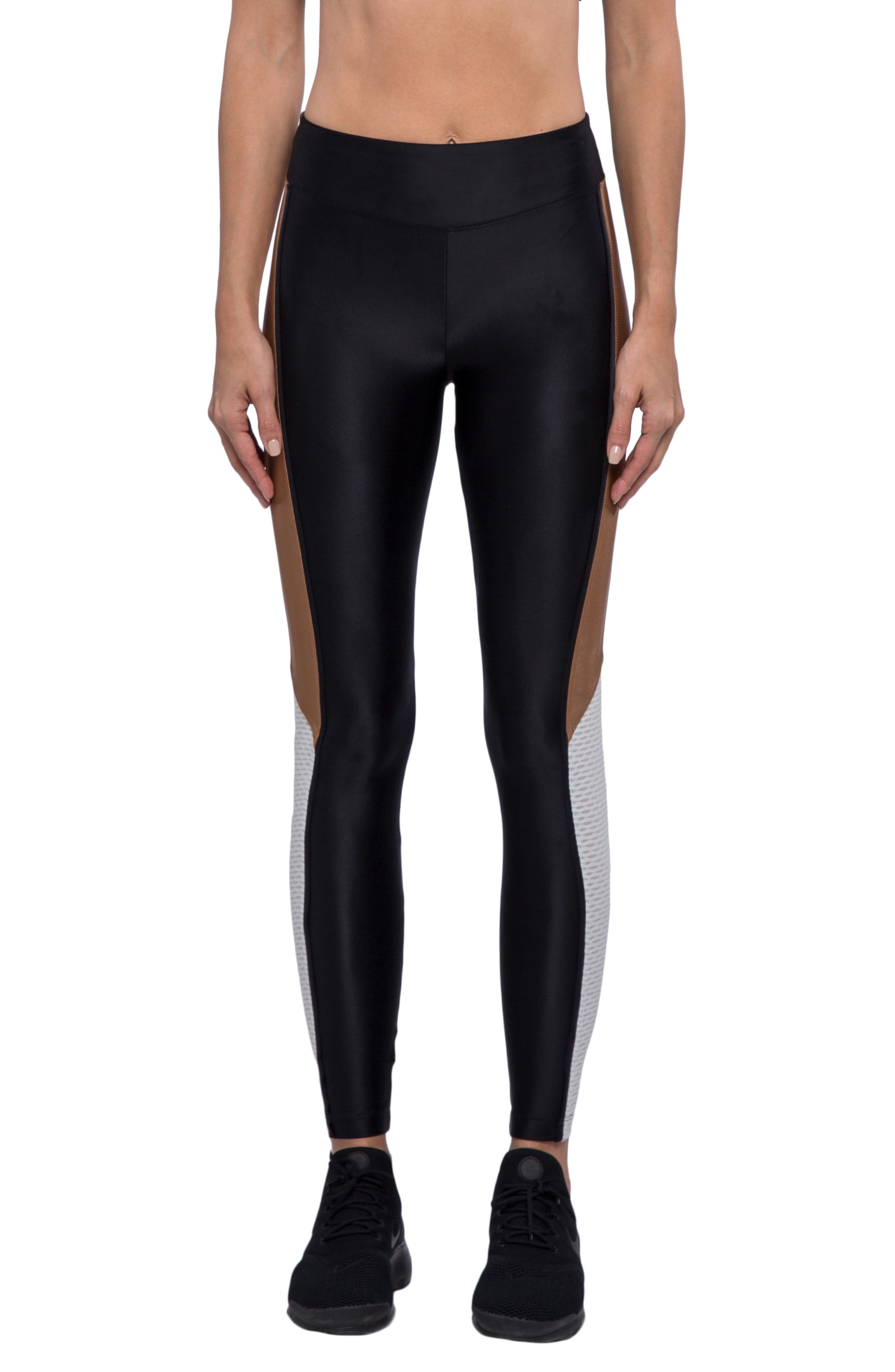 Serendipity Energy Leggings,                             Main thumbnail 1, color,                             BLACK/ TOFFEE/ EGRET