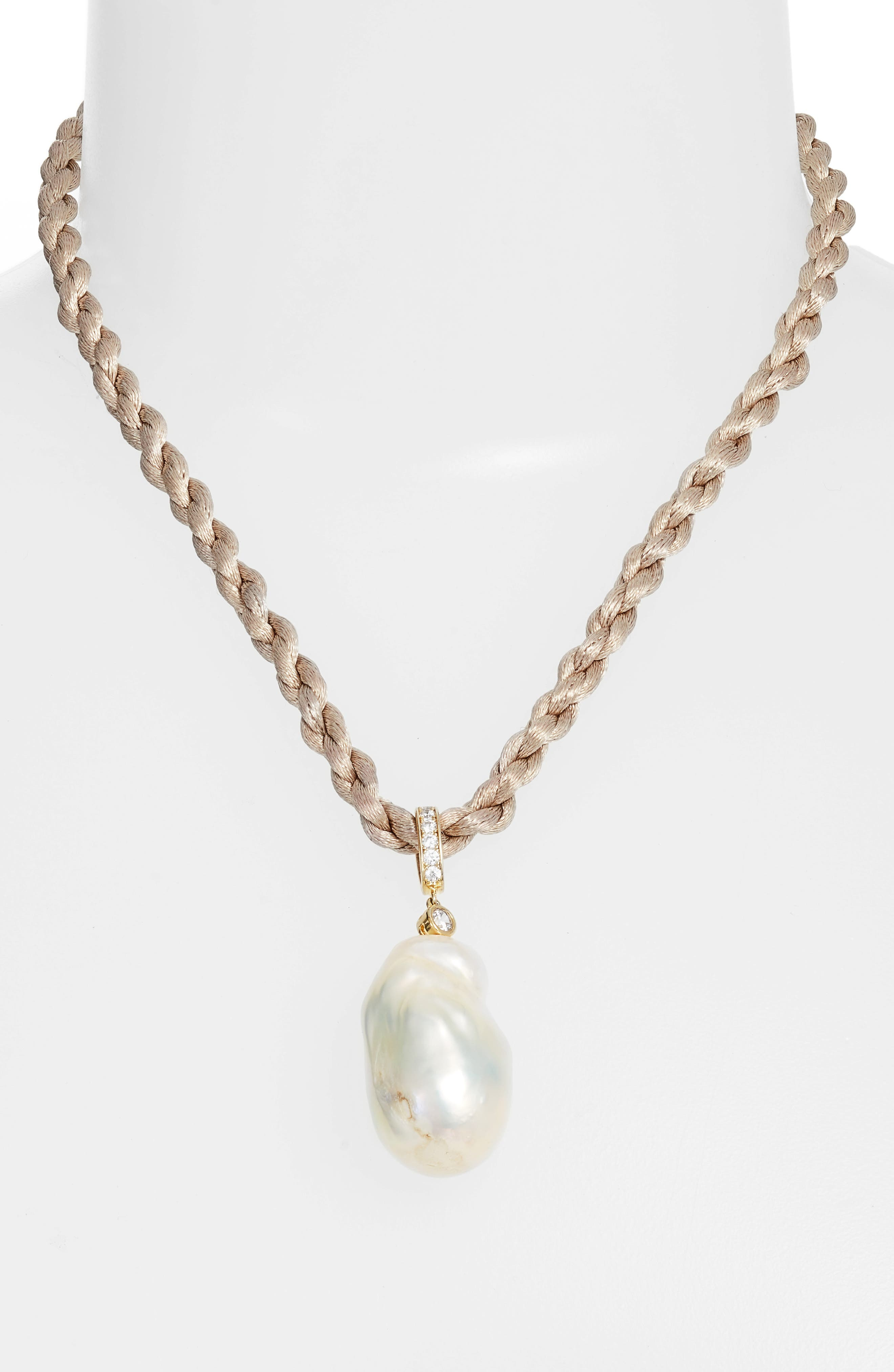 Baroque Freshwater Pearl & Cubic Zirconia Pendant Necklace,                             Alternate thumbnail 2, color,                             GOLD/ KHAKI/ PEARL/ WHITE CZ