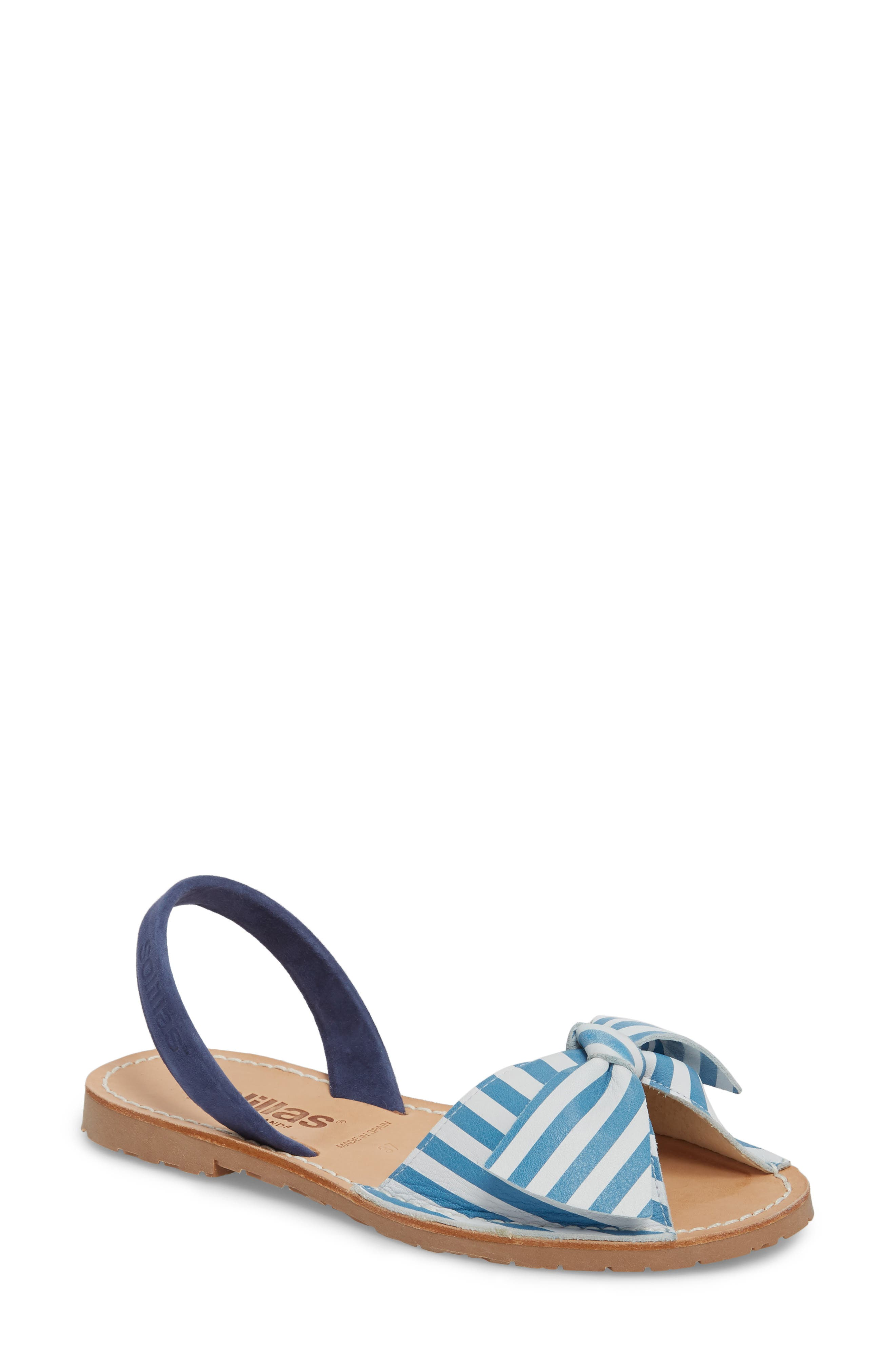 Bow Sandal,                             Main thumbnail 1, color,                             BLUE AND WHITE