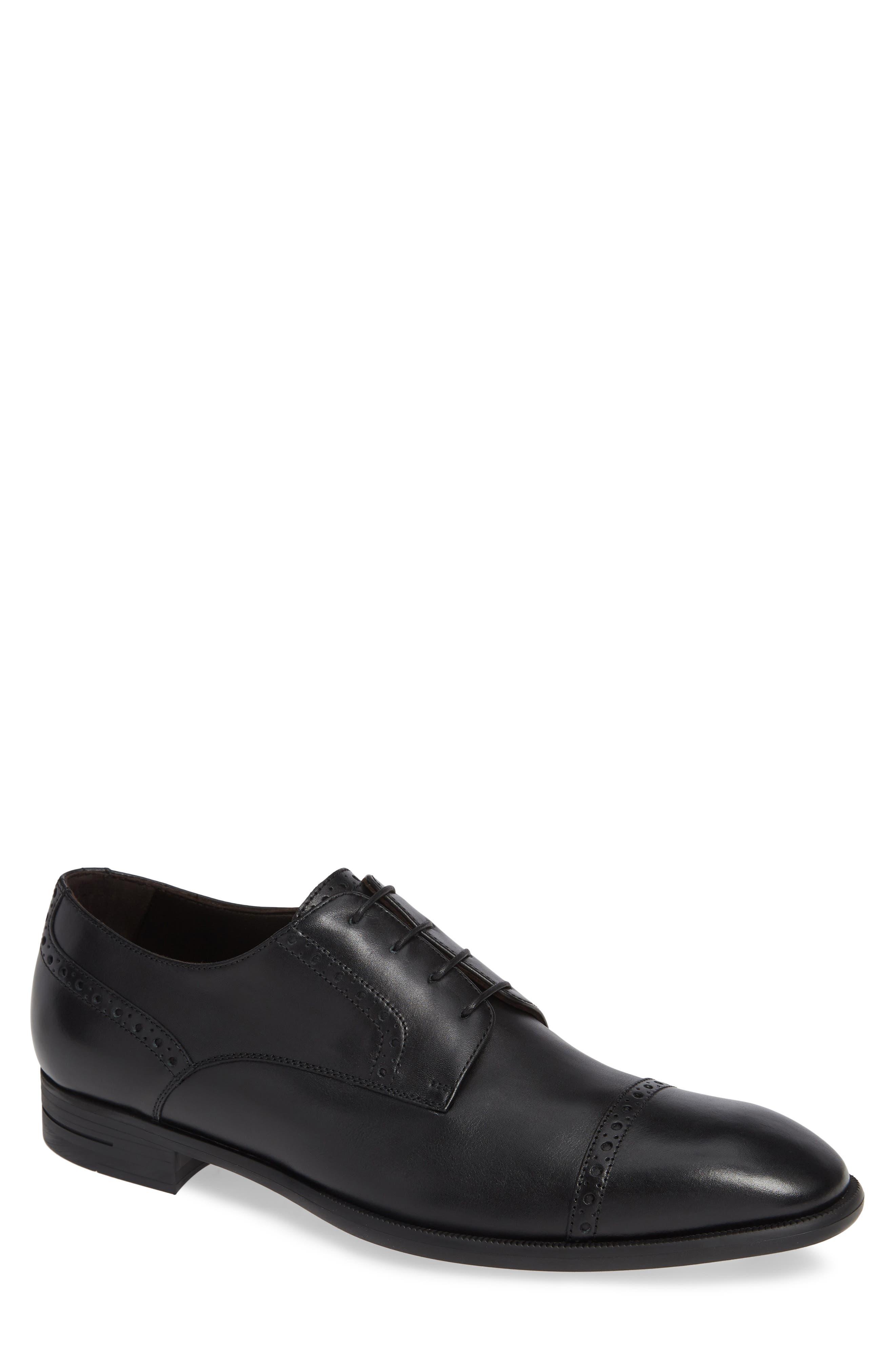 ERMENEGILDO ZEGNA Men'S New Flex Cap-Toe Derby Shoes in Black