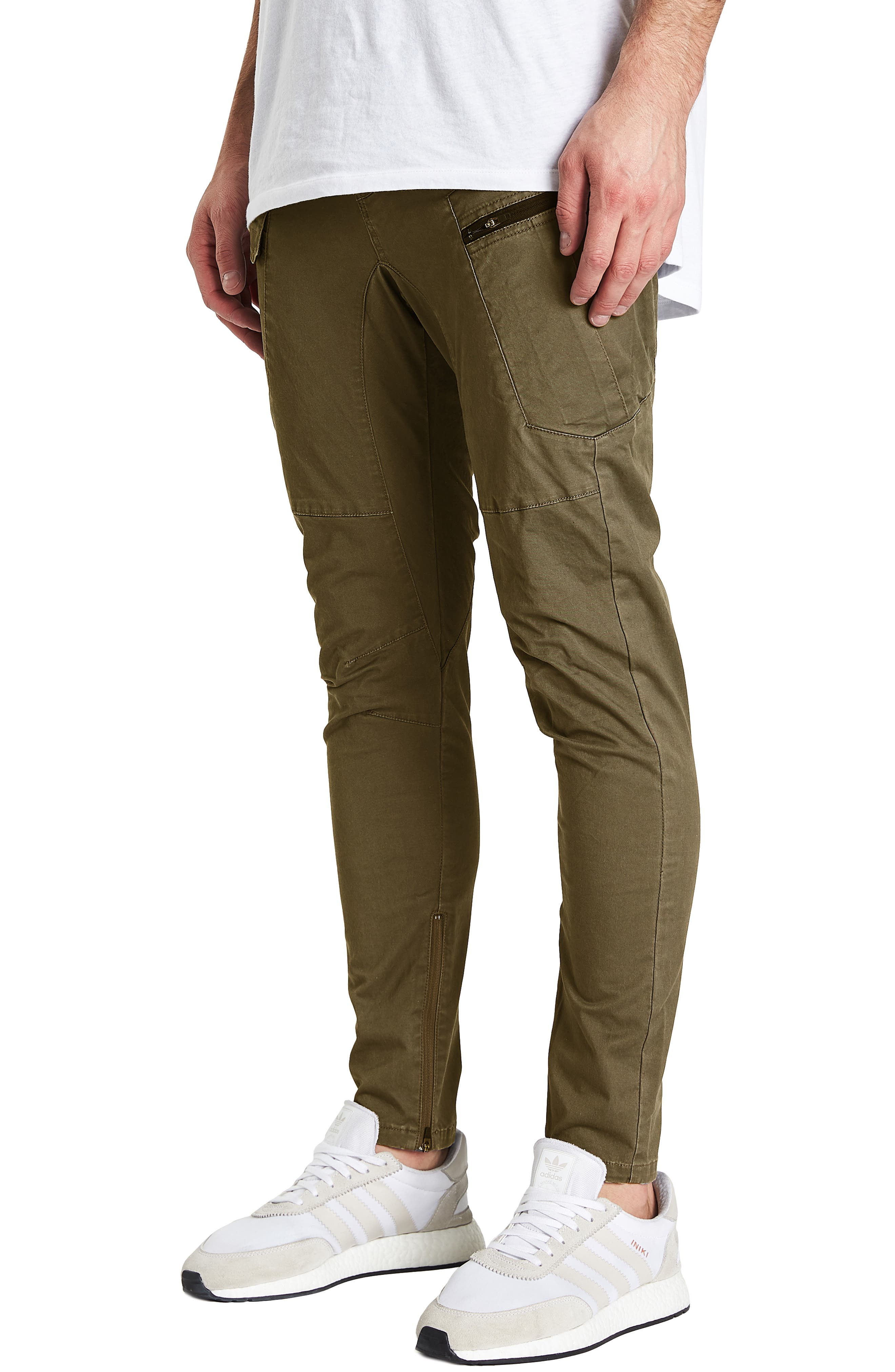 Tactical Slim Fit Pants,                             Alternate thumbnail 3, color,                             IVY GREEN
