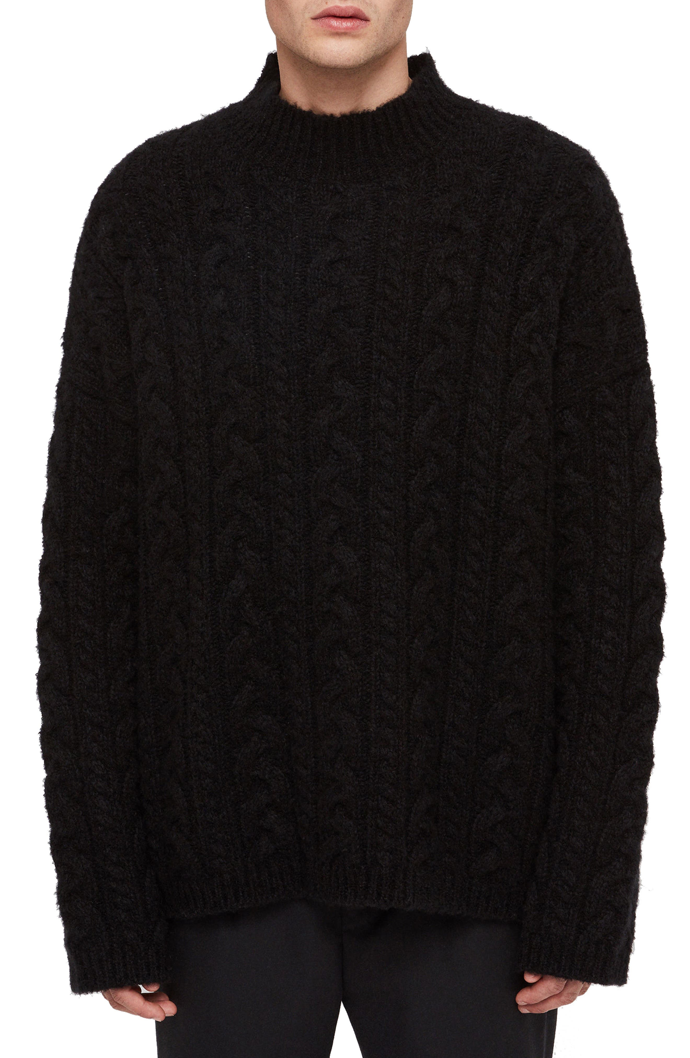 Oversize Cable Wool Blend Funnel Neck Sweater,                         Main,                         color, BLACK