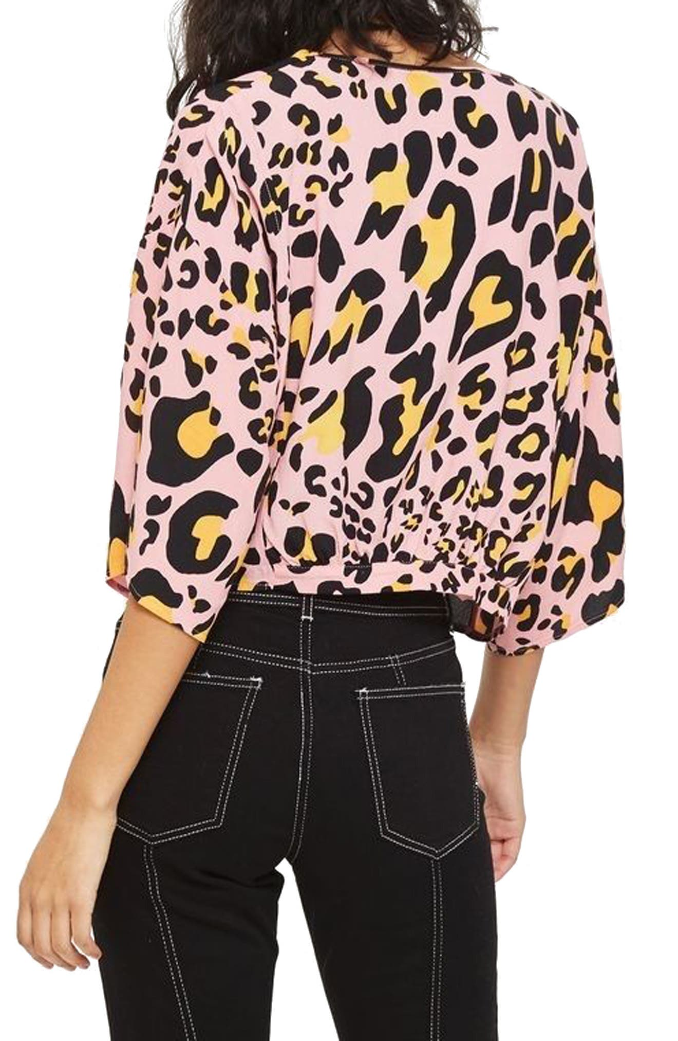 Zoe Animal Print Zip Through Top,                             Alternate thumbnail 2, color,                             650