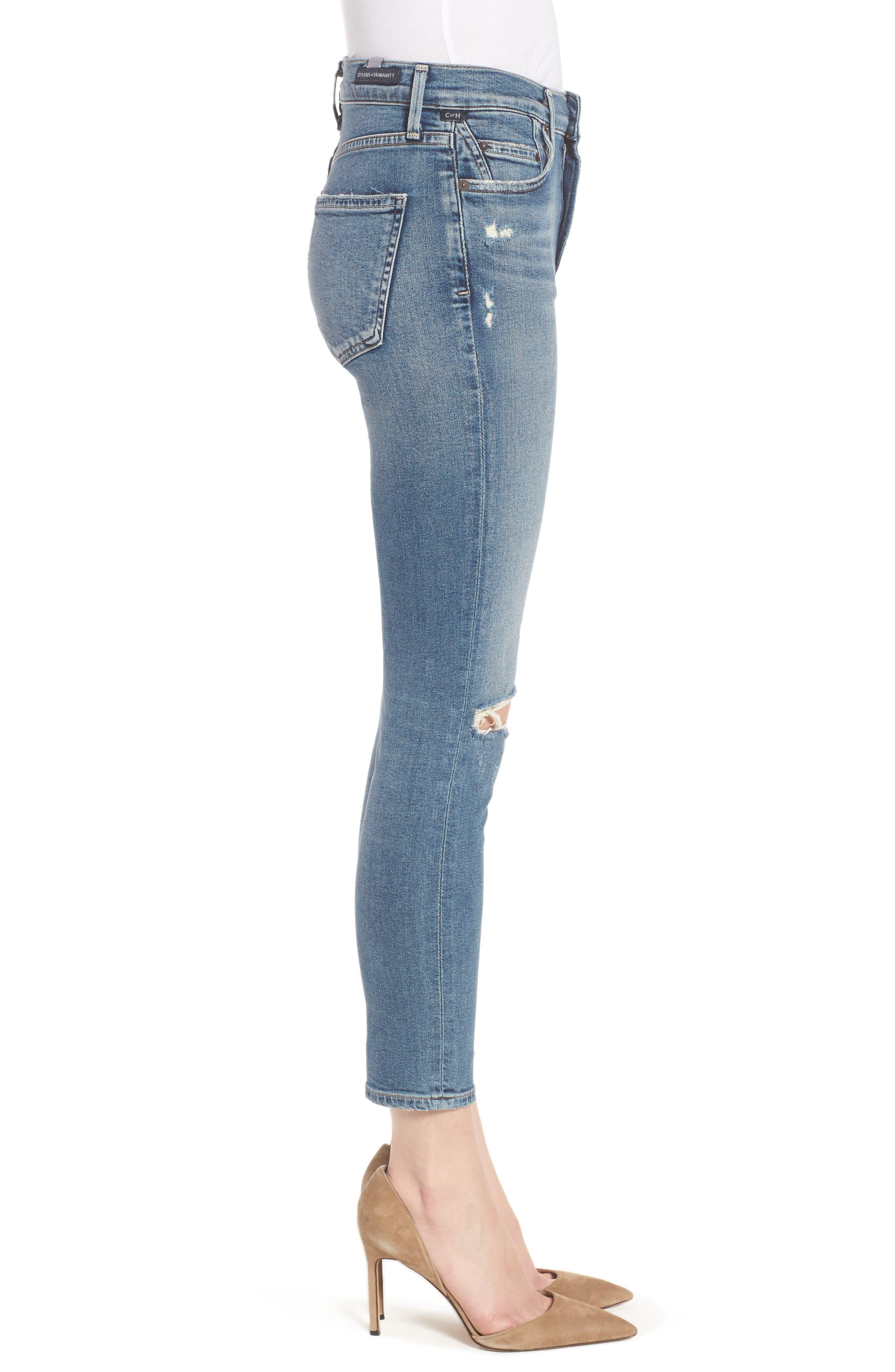 Rocket High Waist Crop Skinny Jeans,                             Alternate thumbnail 3, color,                             427