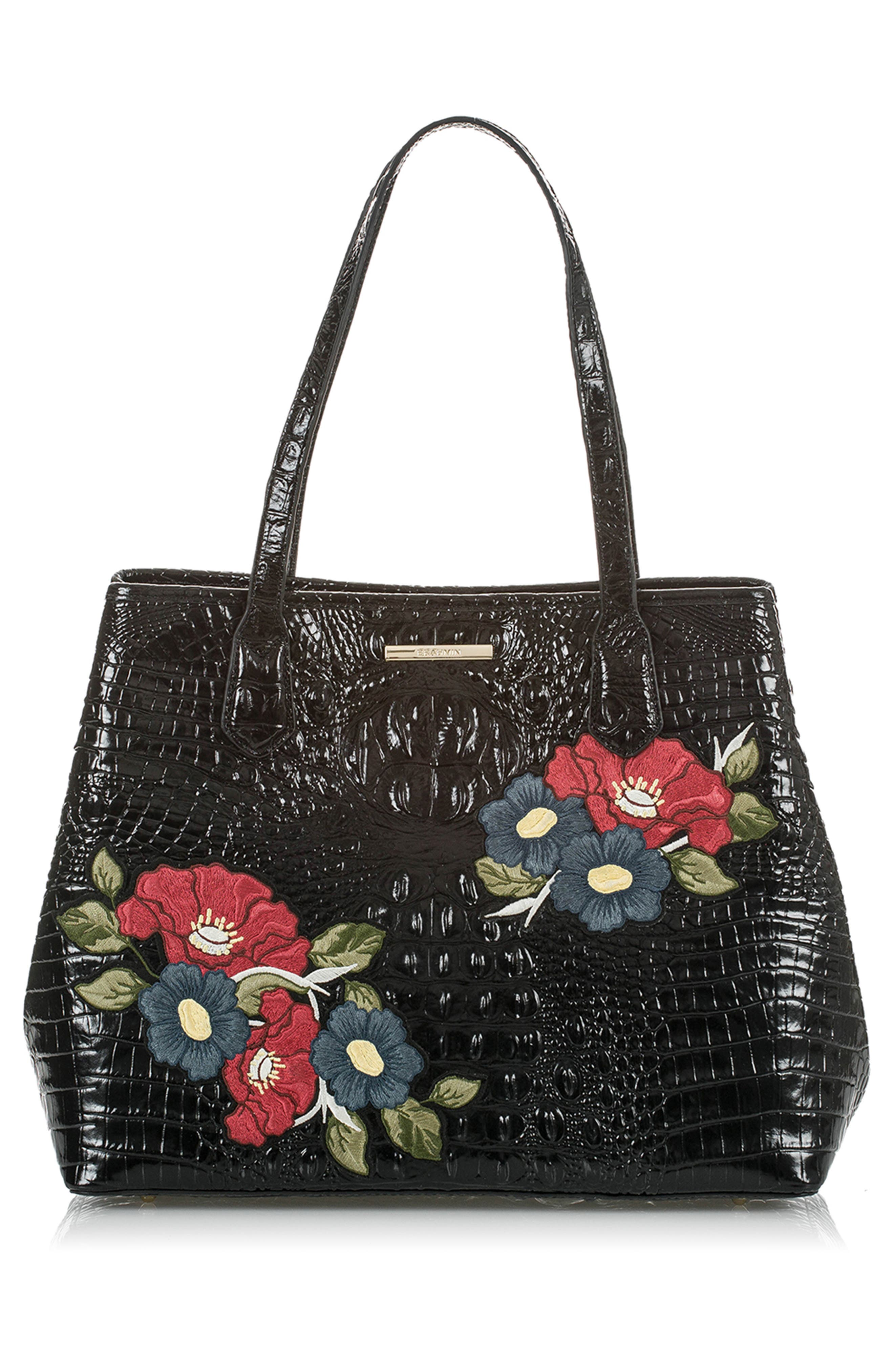 Medium Julian Embroidered Leather Tote,                             Alternate thumbnail 5, color,                             BLACK