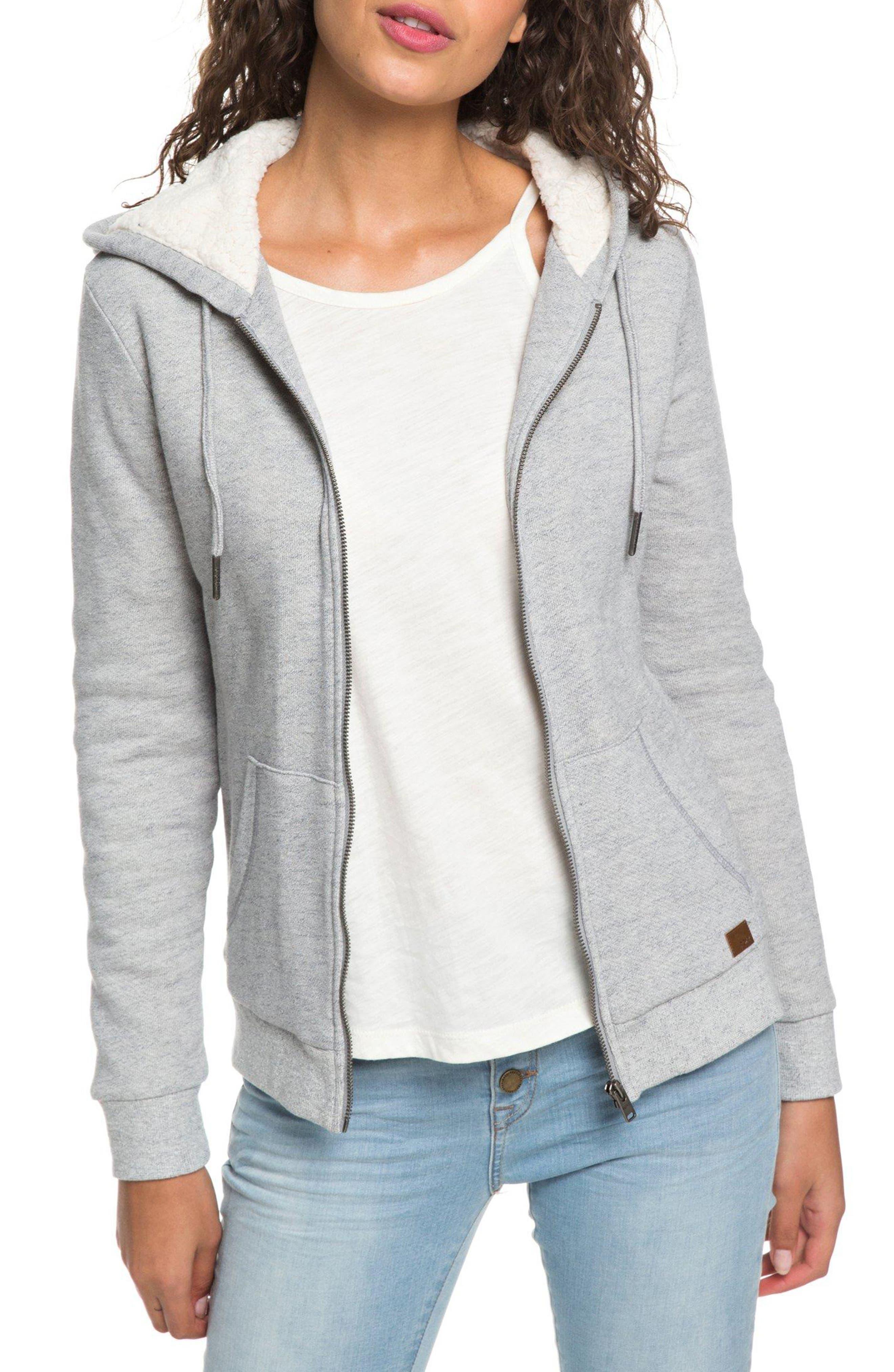 ROXY Fleece Lined Hooded Sweatshirt in Heritage Heather