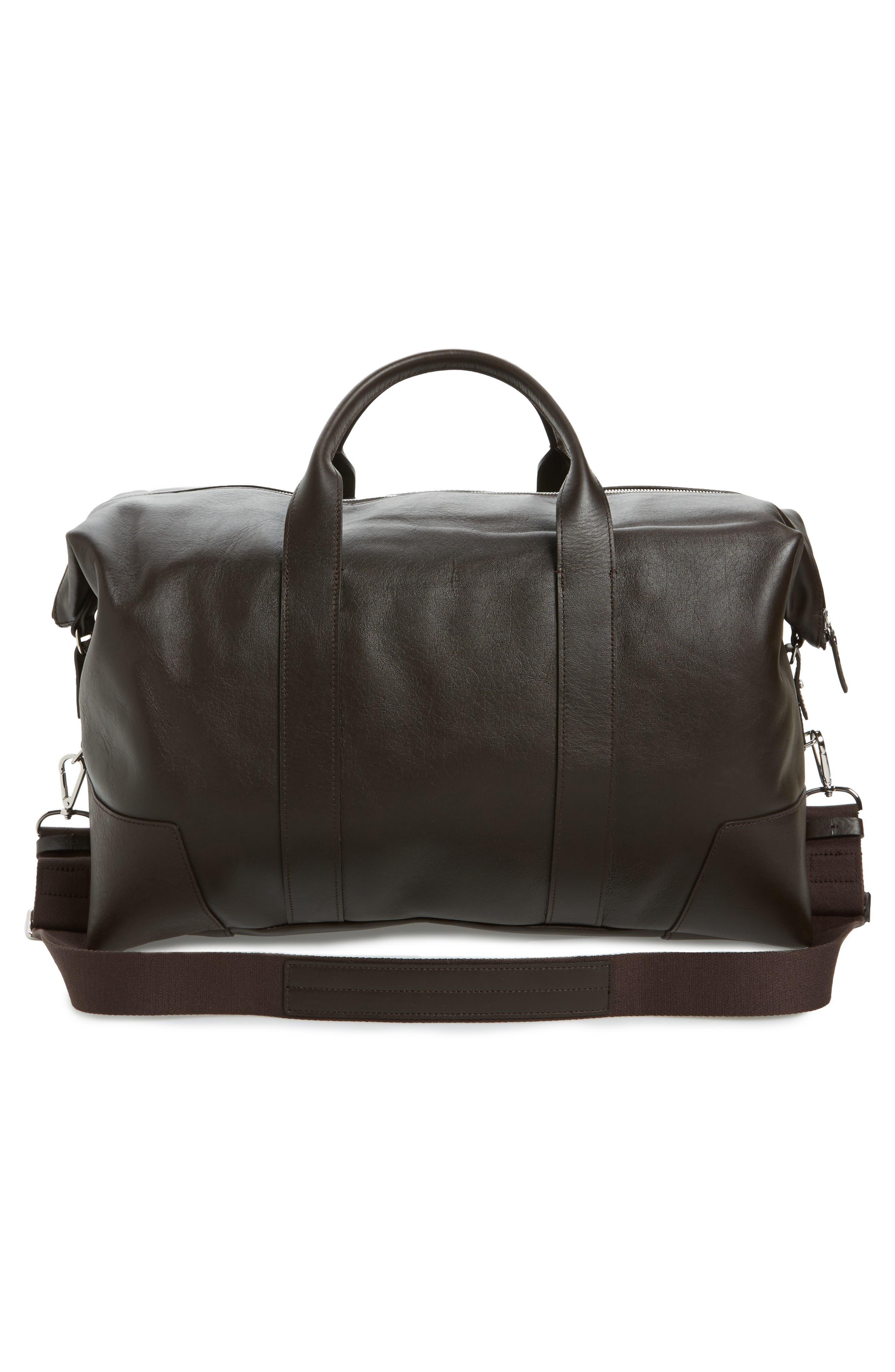 Signature Leather Duffel Bag,                             Alternate thumbnail 3, color,                             DEEP BROWN