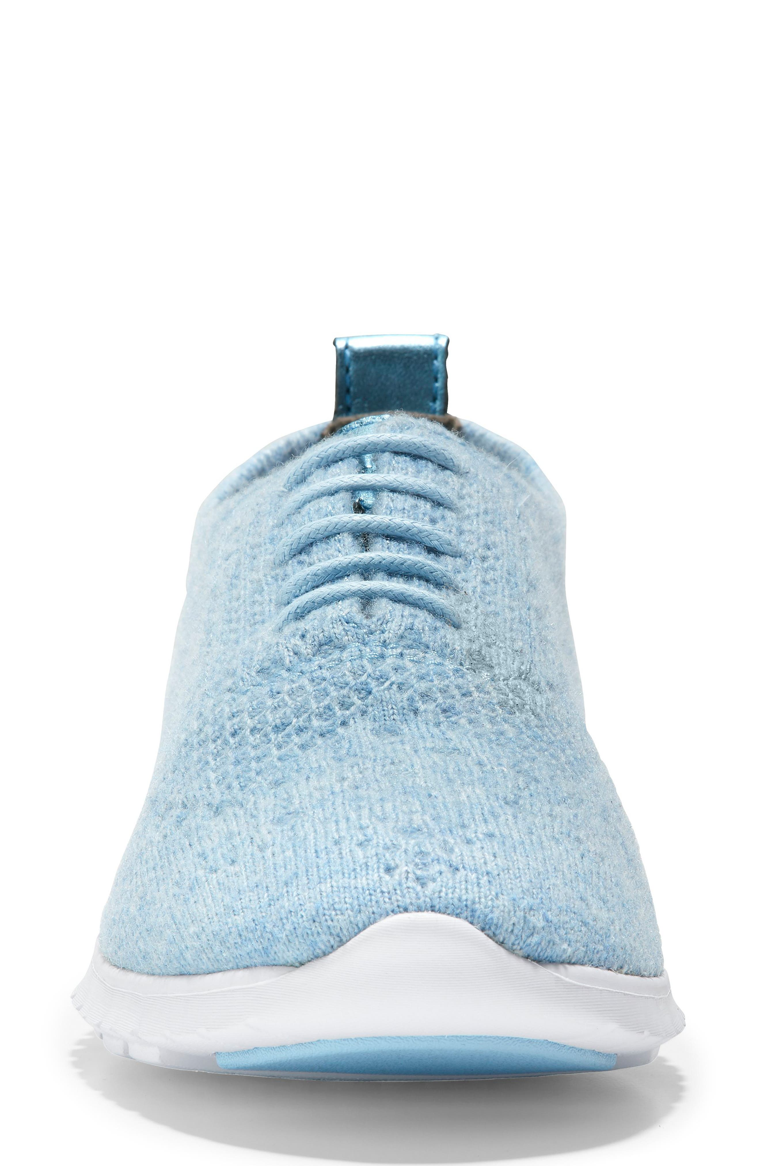 COLE HAAN,                             ZeroGrand Stitchlite Wool Flat,                             Alternate thumbnail 4, color,                             CHAMBRAY BLUE FABRIC