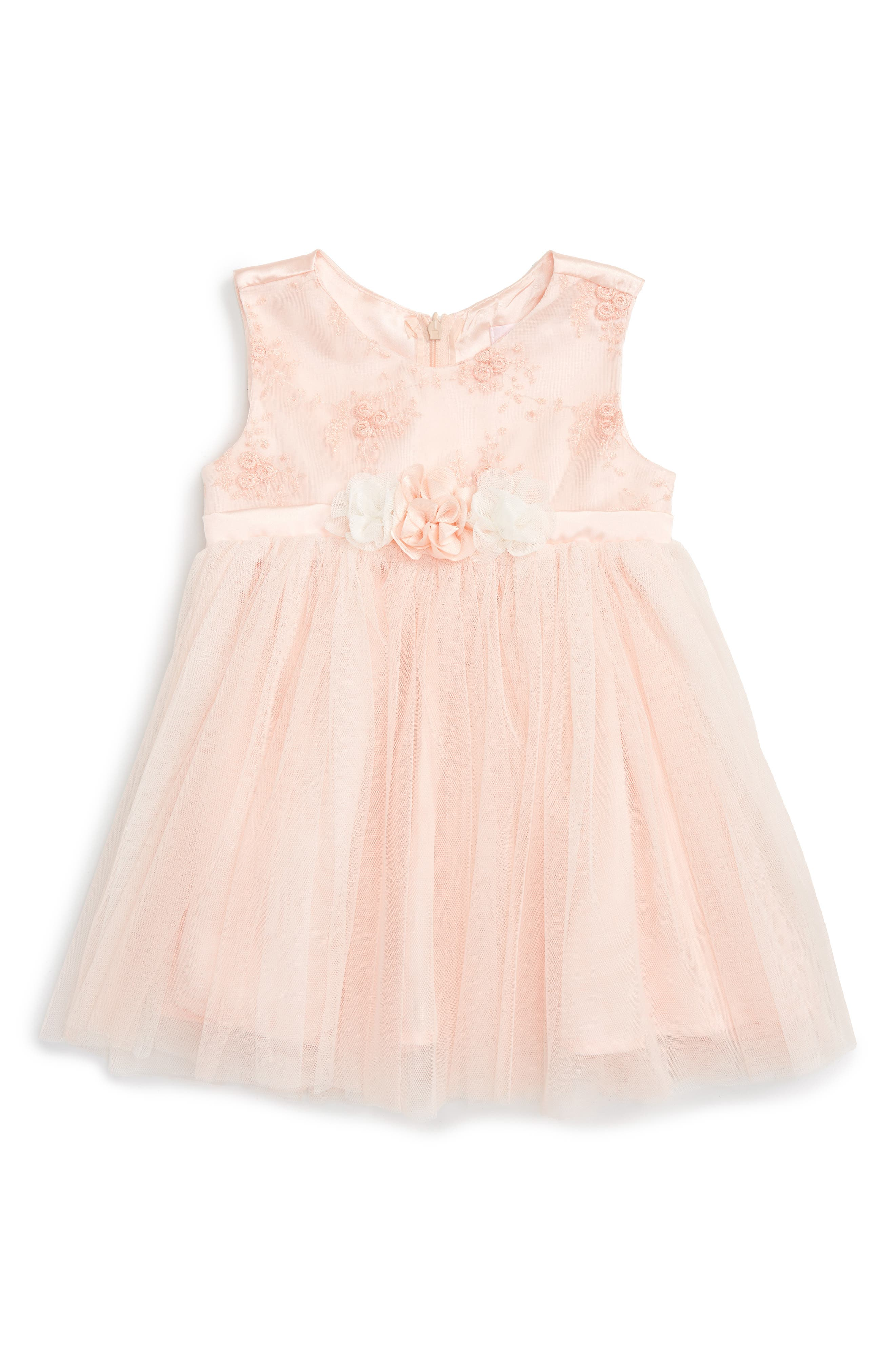 Floral Embroidered Tulle Dress,                             Main thumbnail 1, color,                             PEACH
