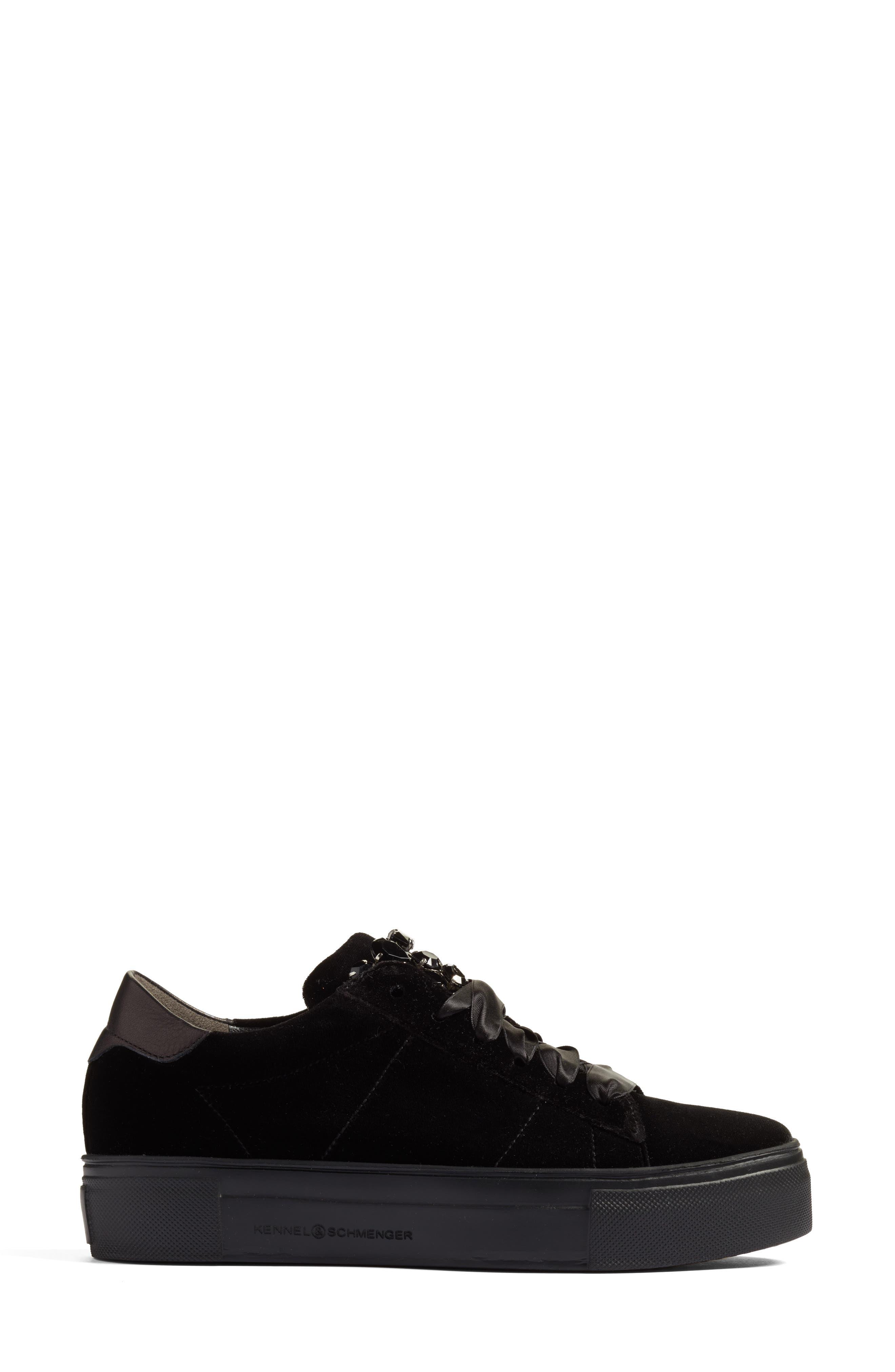 Kennel & Schmenger Big Velvet Lace-Up Sneaker,                             Alternate thumbnail 3, color,