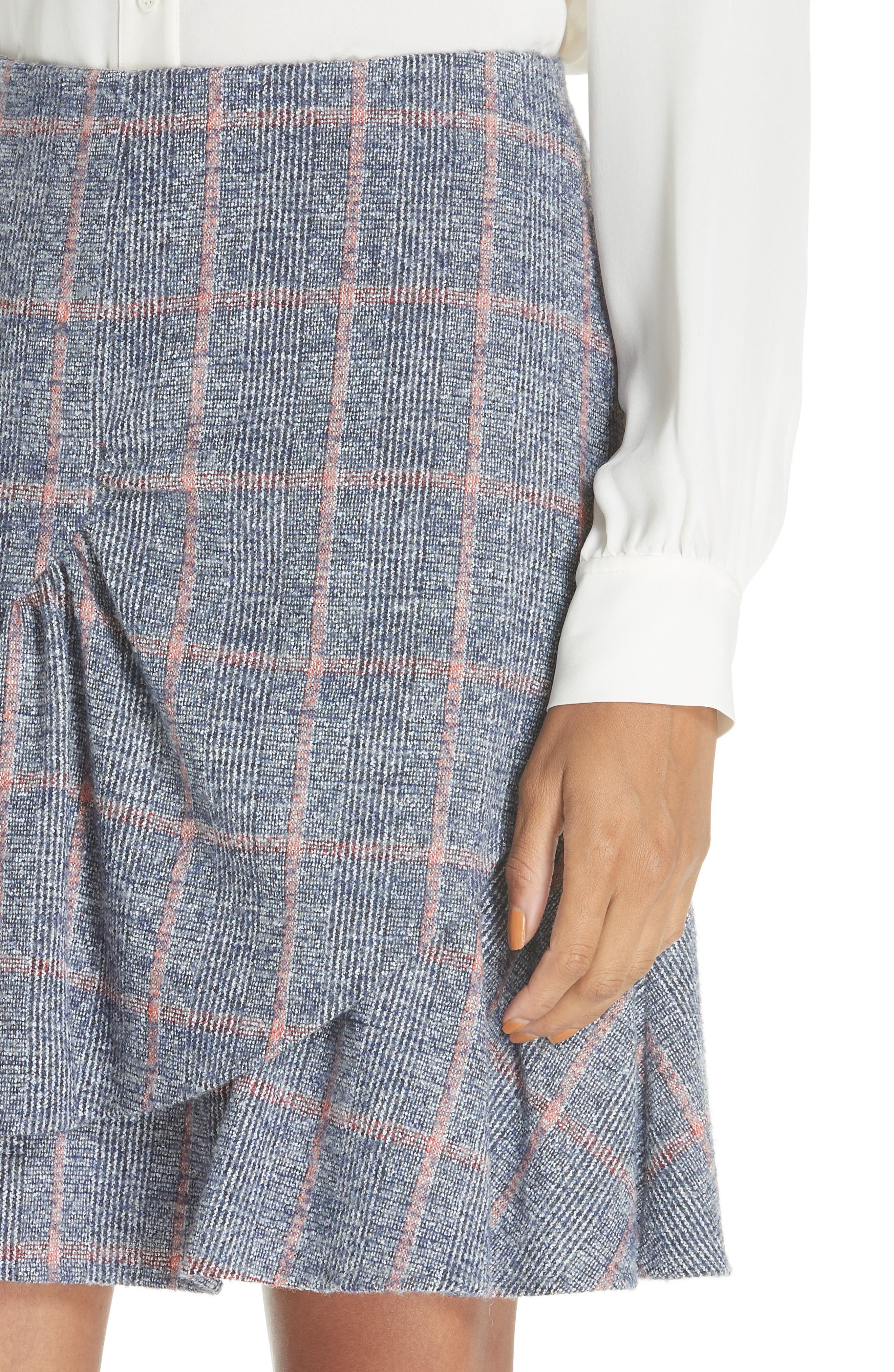 Cotton Wool Blend Plaid Ruffle Mini Skirt,                             Alternate thumbnail 4, color,                             482