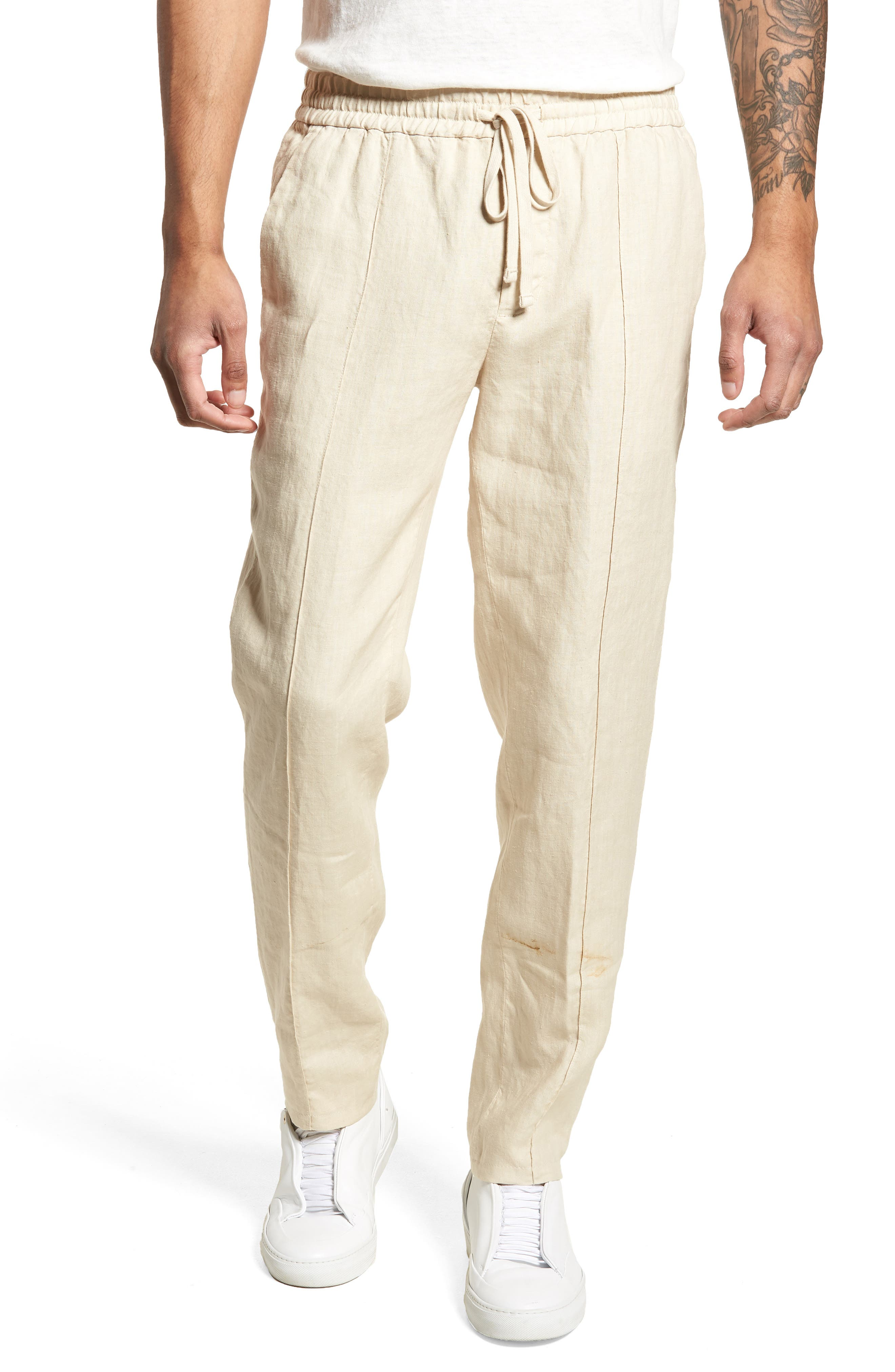 Pintuck Slim Fit Hemp Track Pants,                             Main thumbnail 1, color,                             WHITE SAND