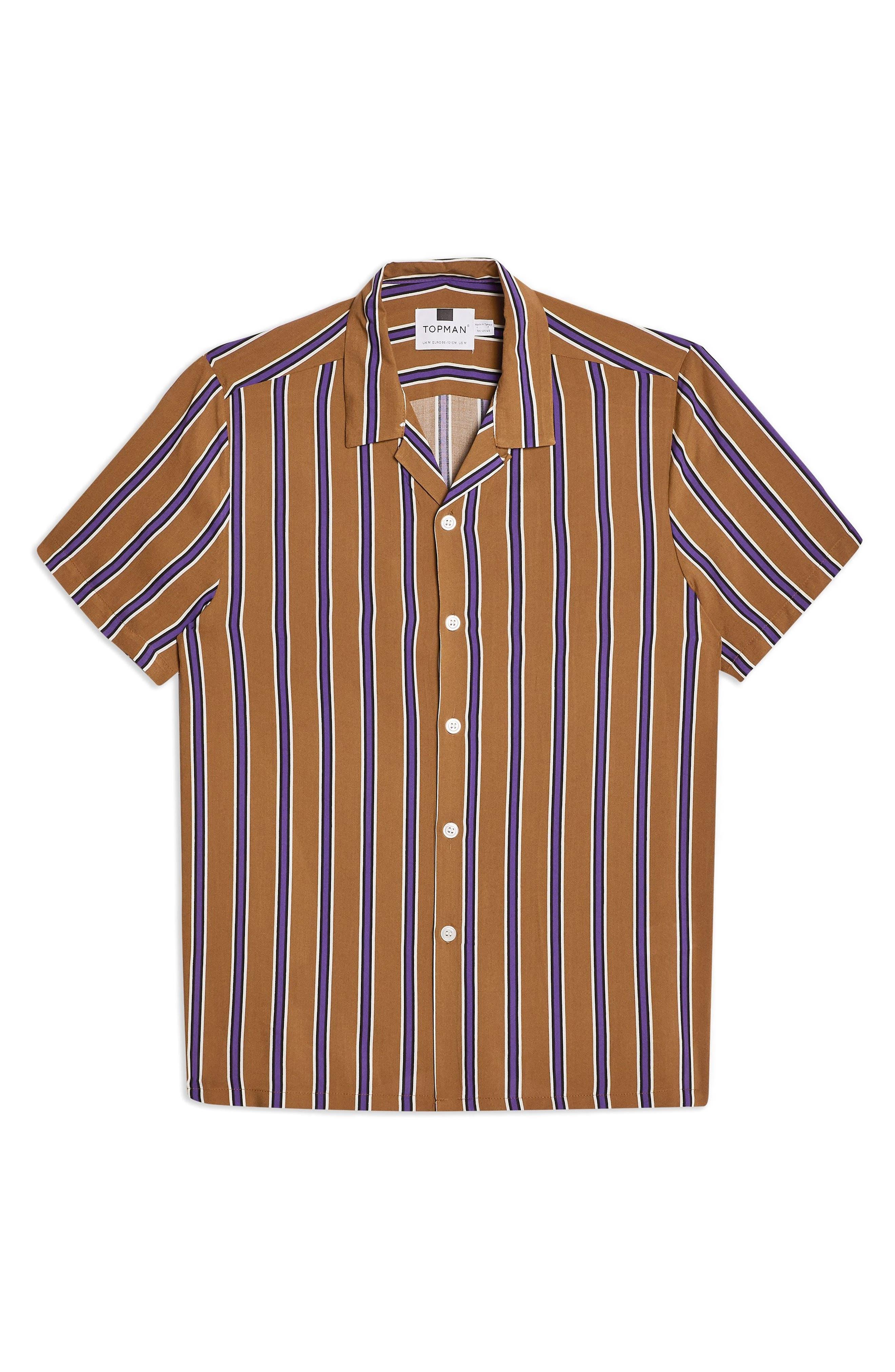 TOPMAN,                             Stripe Revere Collar Camp Shirt,                             Alternate thumbnail 4, color,                             BROWN MULTI