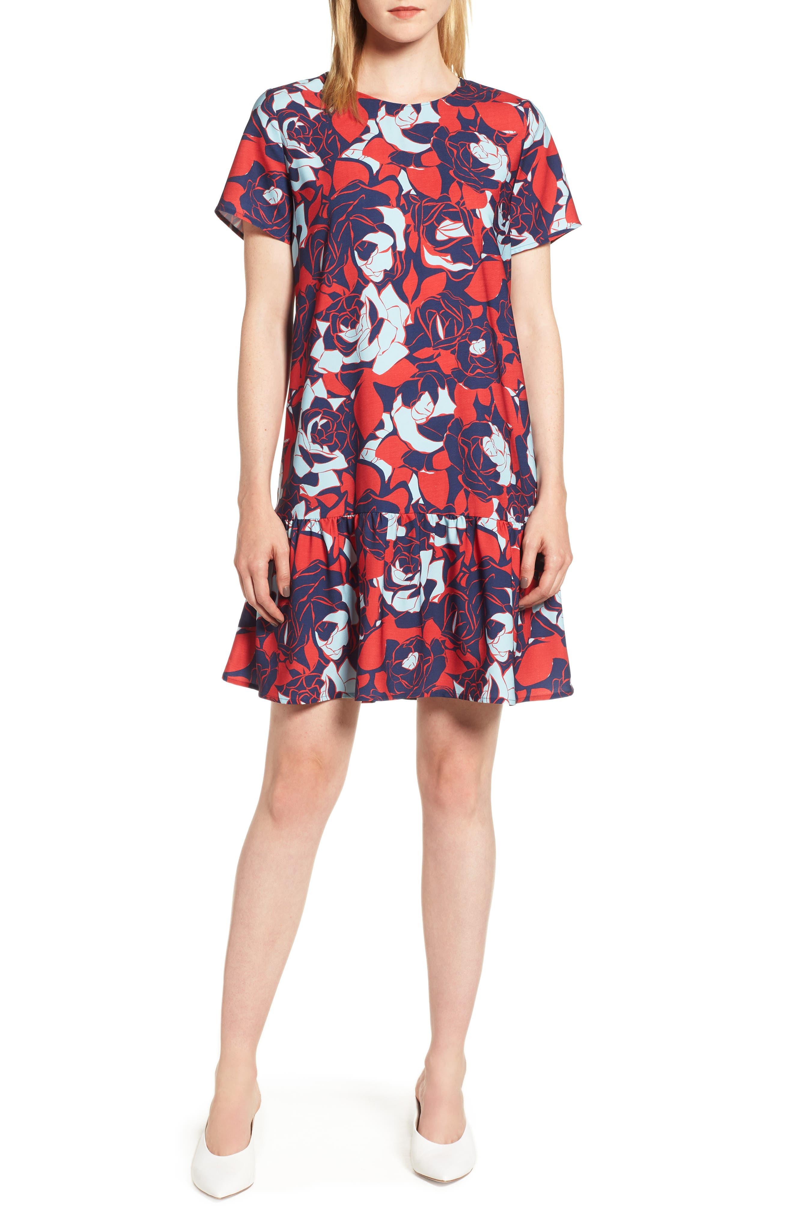 Short Sleeve Ruffle Hem Dress,                             Main thumbnail 6, color,