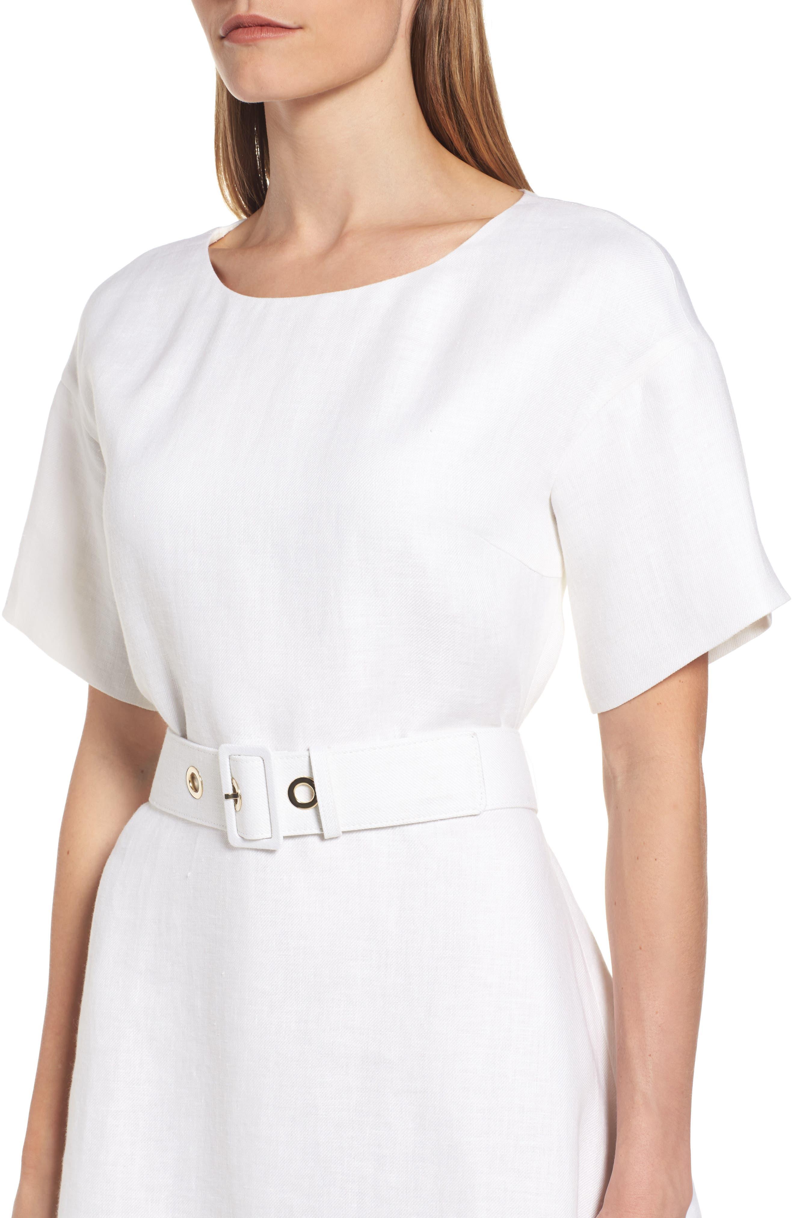 Dimisa Linen Belted A-Line Dress,                             Alternate thumbnail 4, color,
