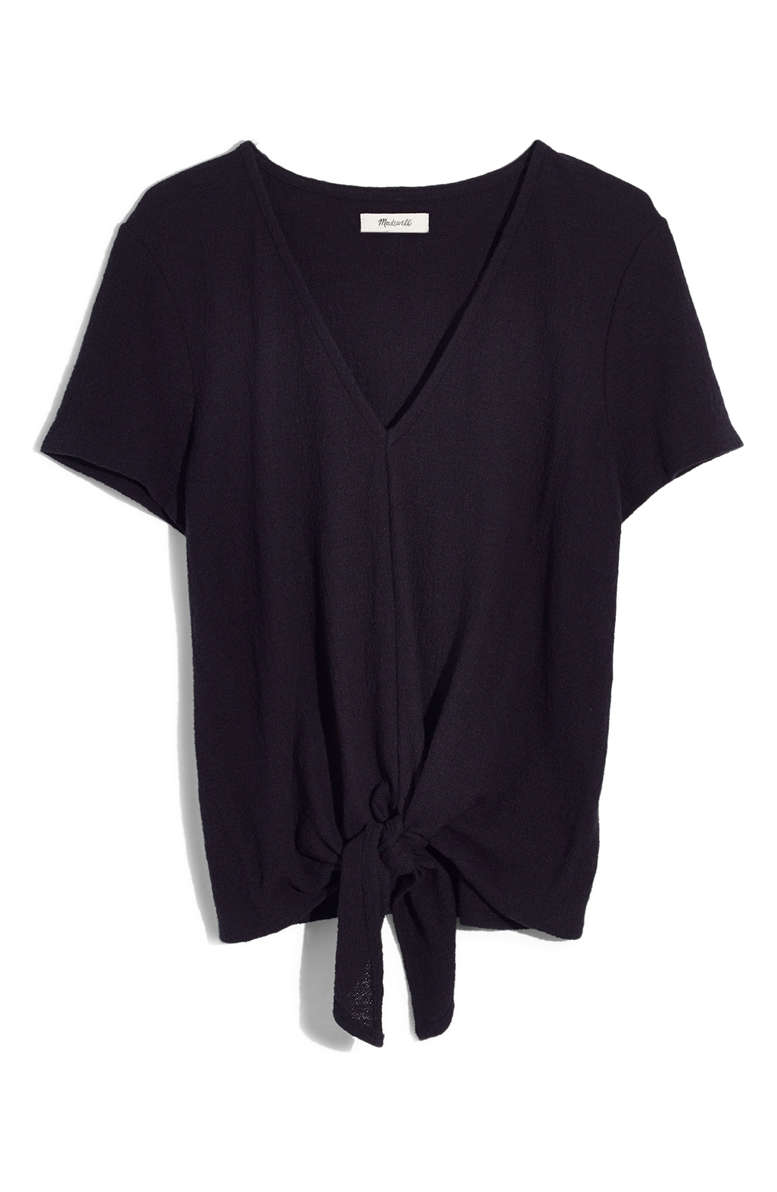 Texture & Thread V-Neck Modern Tie-Front Top,                             Main thumbnail 1, color,                             001