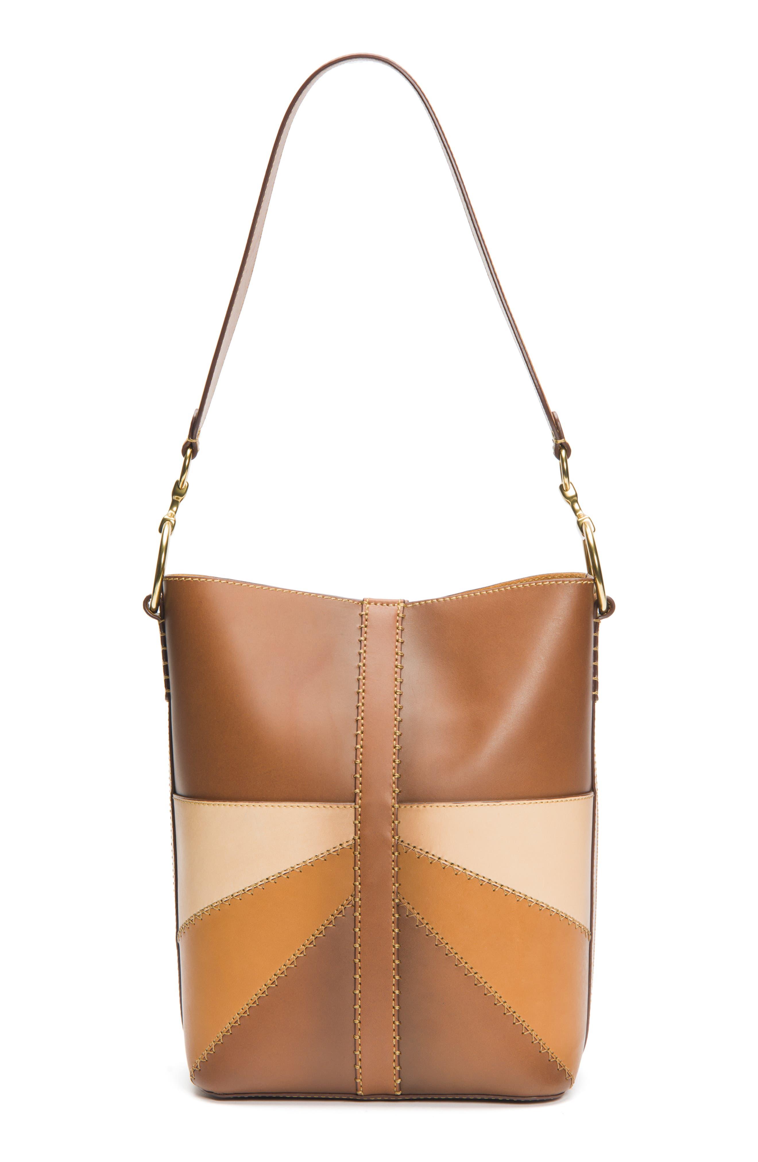 Ilana Colorblock Leather Bucket Hobo,                         Main,                         color, 200