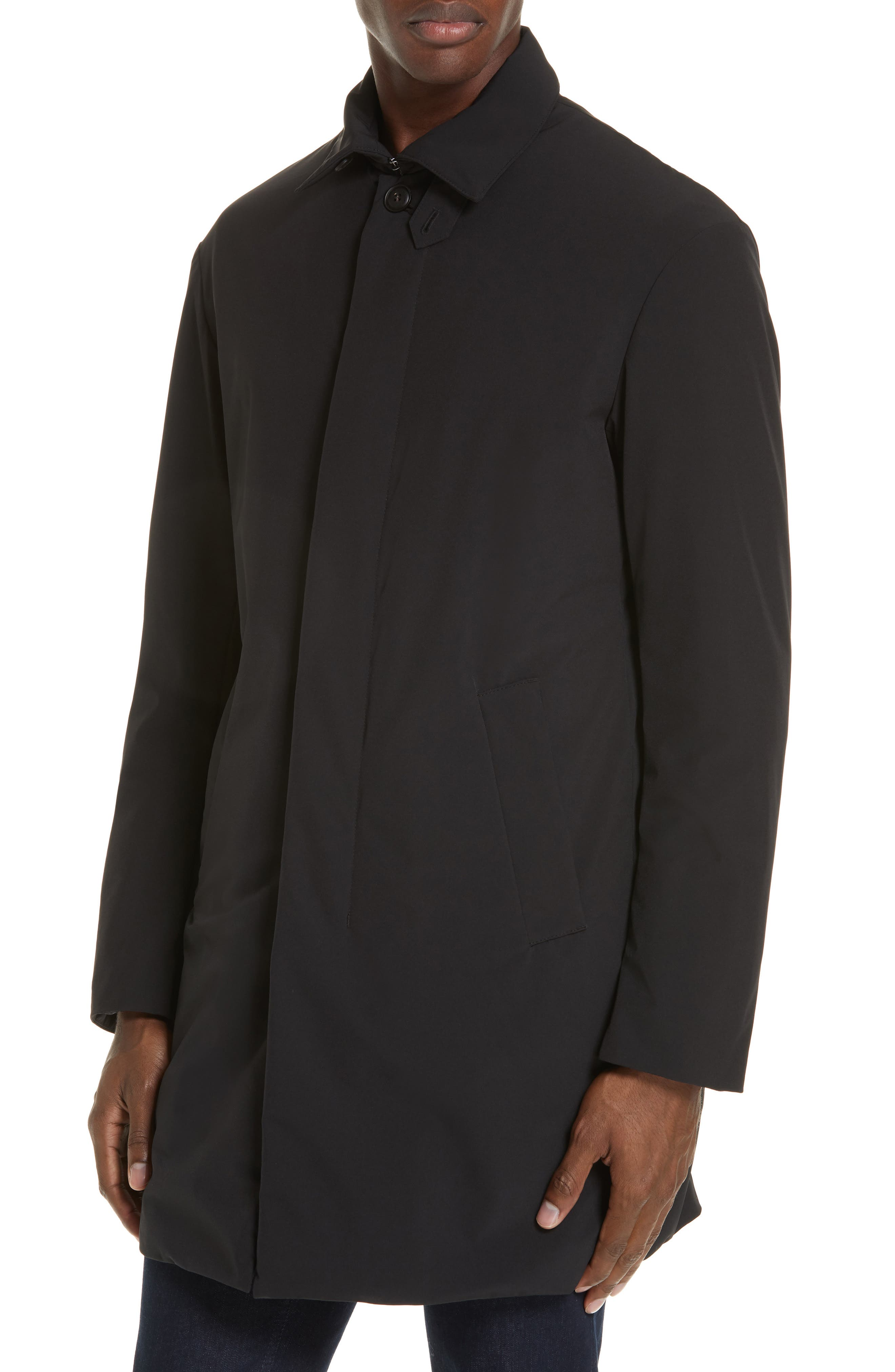 EMPORIO ARMANI,                             Trim Fit Stretch Topcoat,                             Alternate thumbnail 4, color,                             001