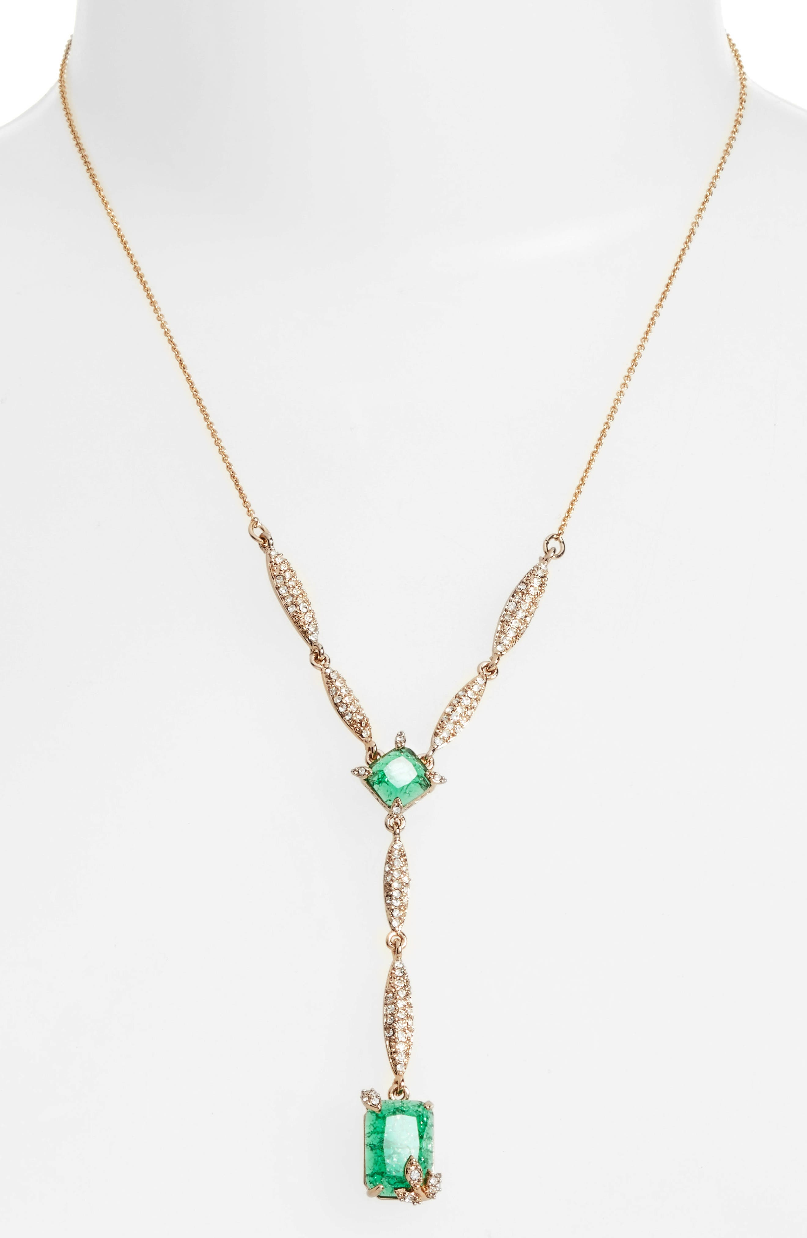 Y-Necklace,                             Alternate thumbnail 2, color,                             EMERALD/ GOLD