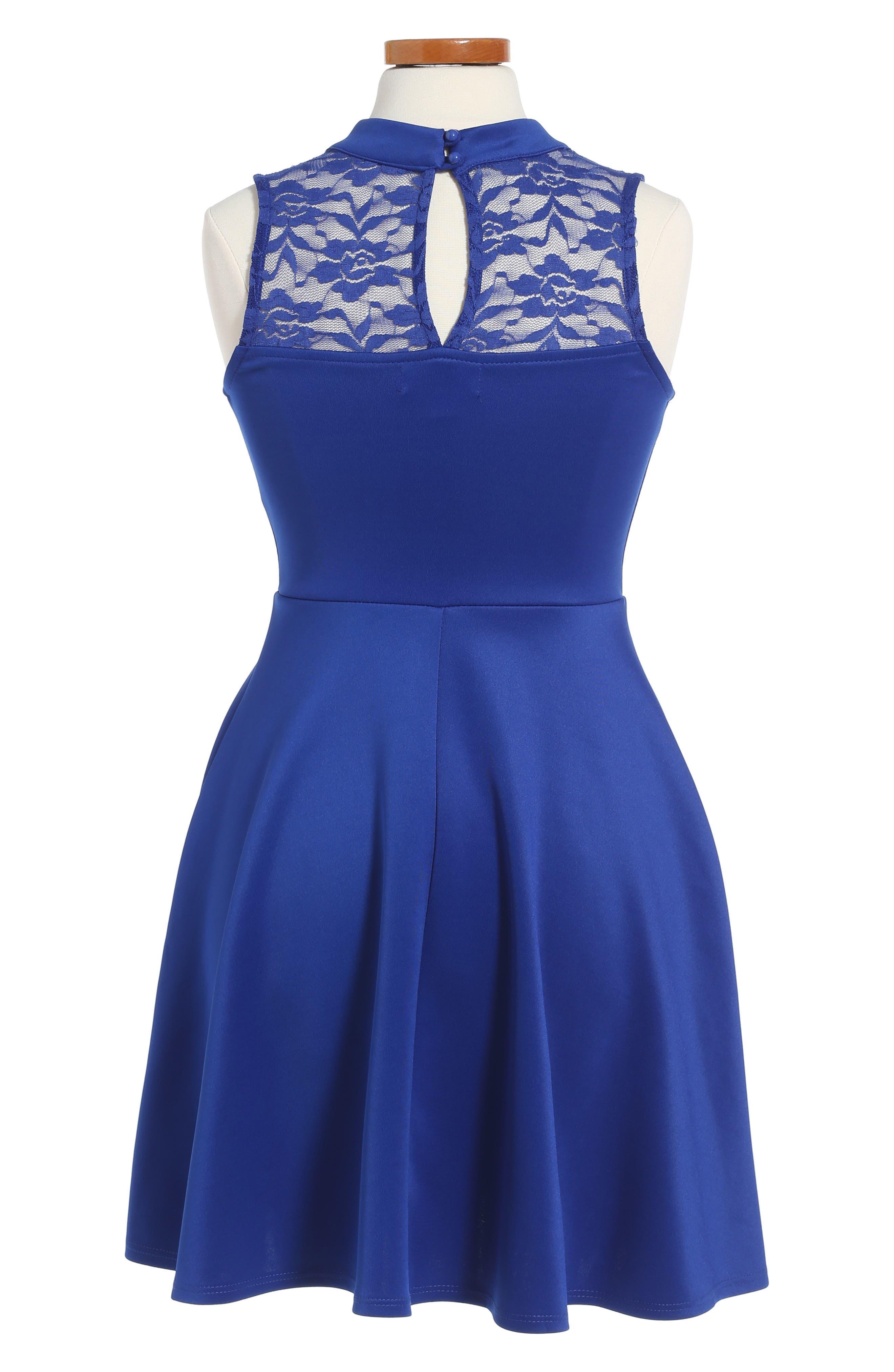 Lace Scuba Dress,                             Alternate thumbnail 2, color,                             420