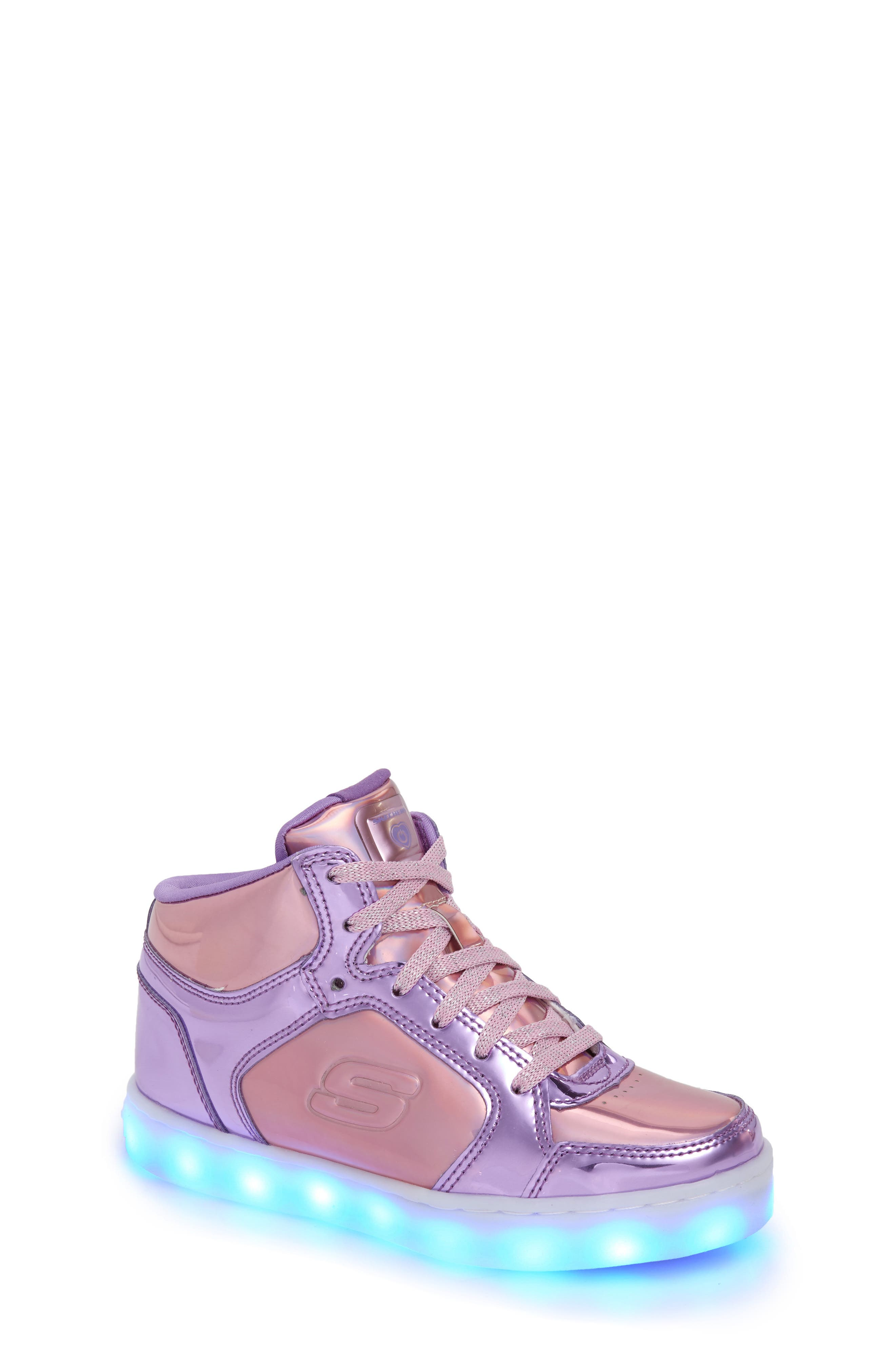 SKECHERS,                             Energy Lights Metallic High Top Sneaker,                             Alternate thumbnail 7, color,                             650