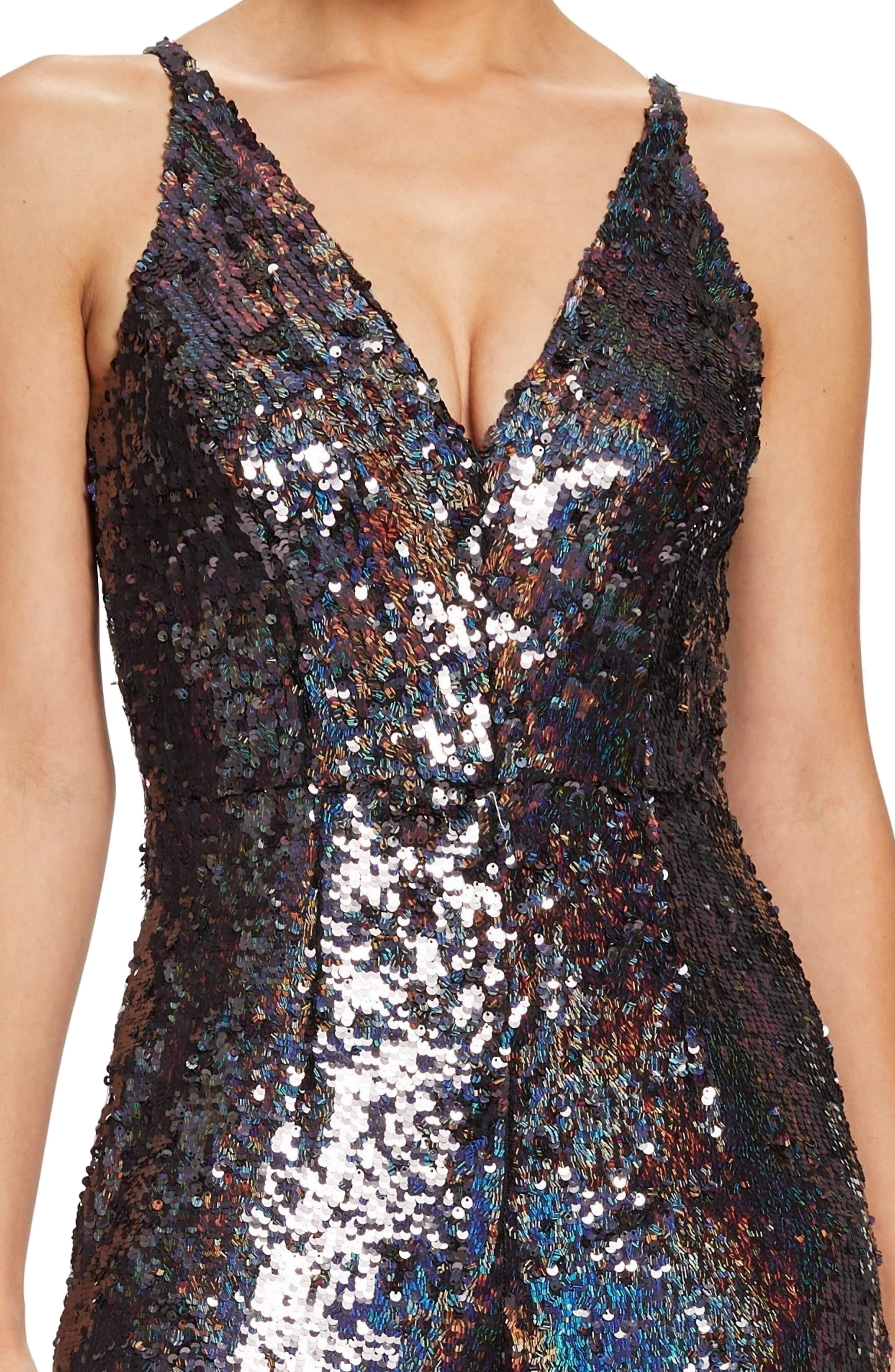 Charlie Sequin Jumpsuit,                             Alternate thumbnail 4, color,                             ONYX