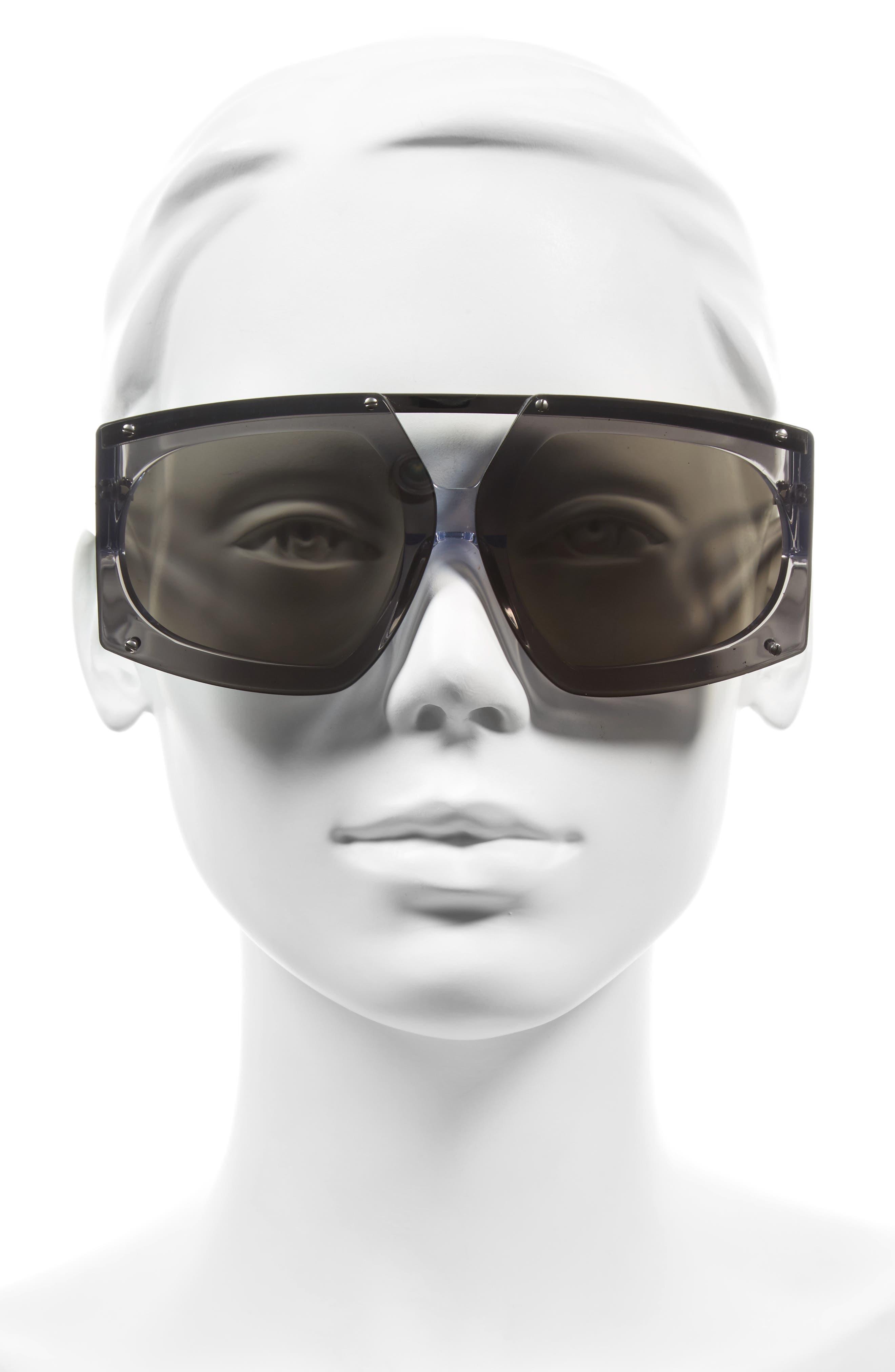 70mm Mirrored Oversized Sunglasses,                             Alternate thumbnail 4, color,