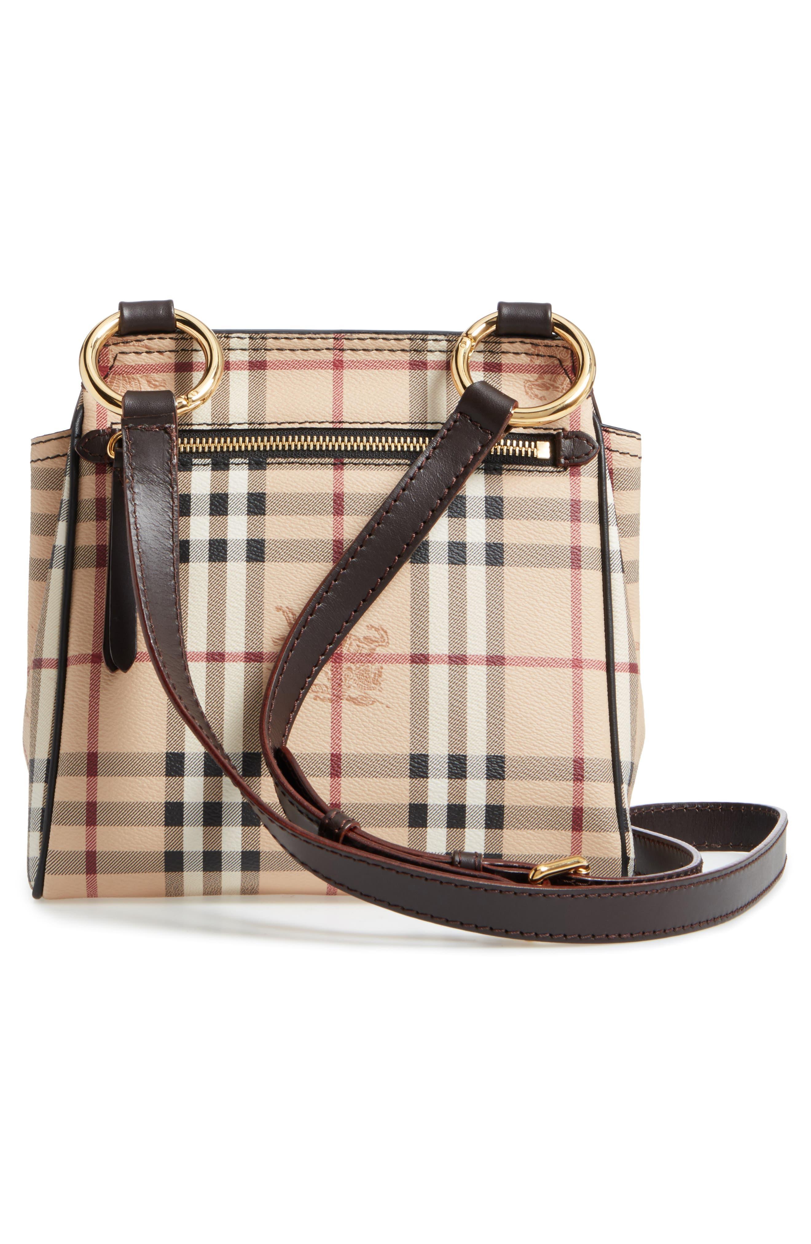 Bridle Leather & Check Shoulder Bag,                             Alternate thumbnail 3, color,                             208