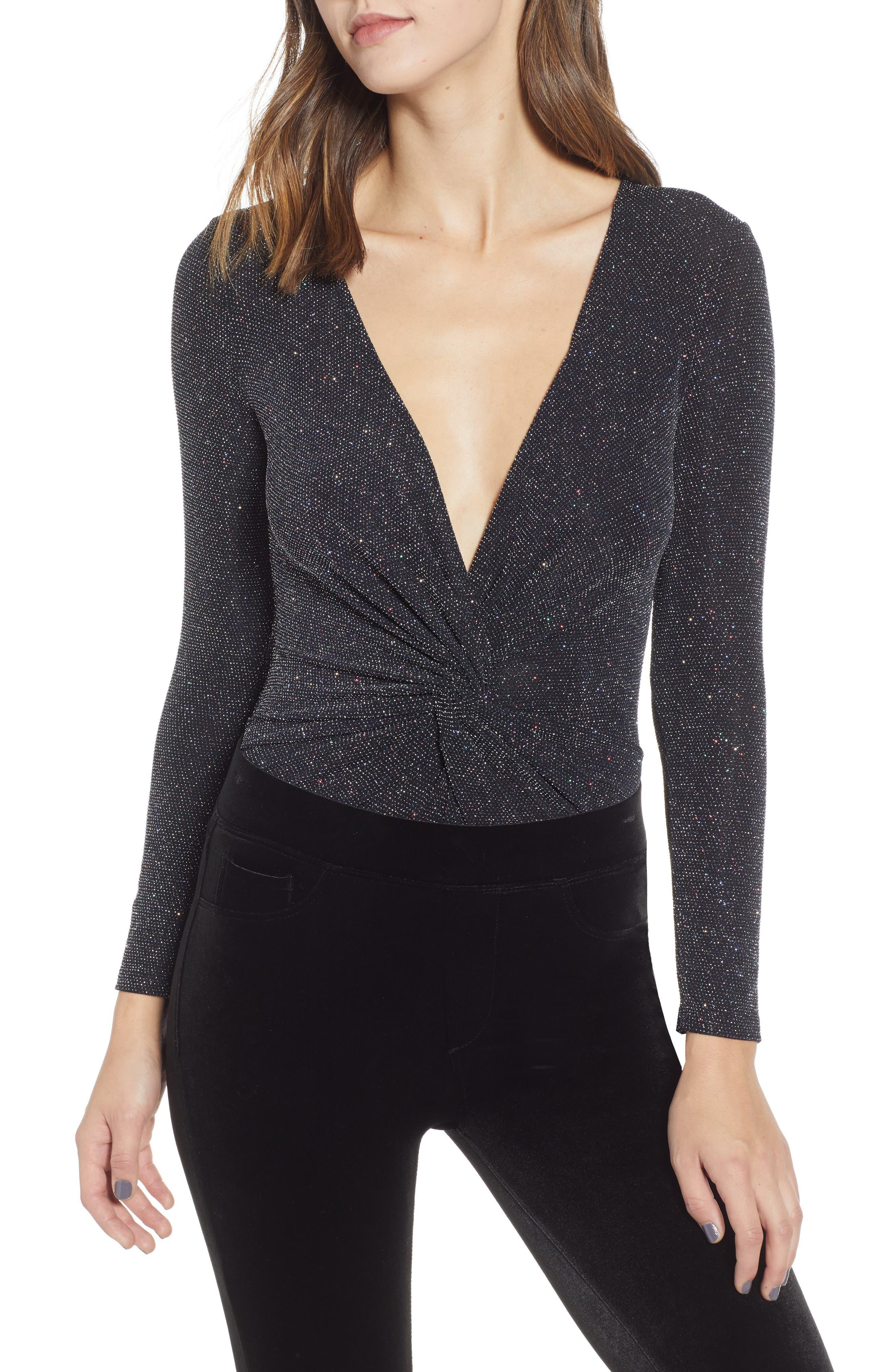 Sparkle Twist Front Bodysuit,                             Main thumbnail 1, color,                             BLACK MULTI GLITTER