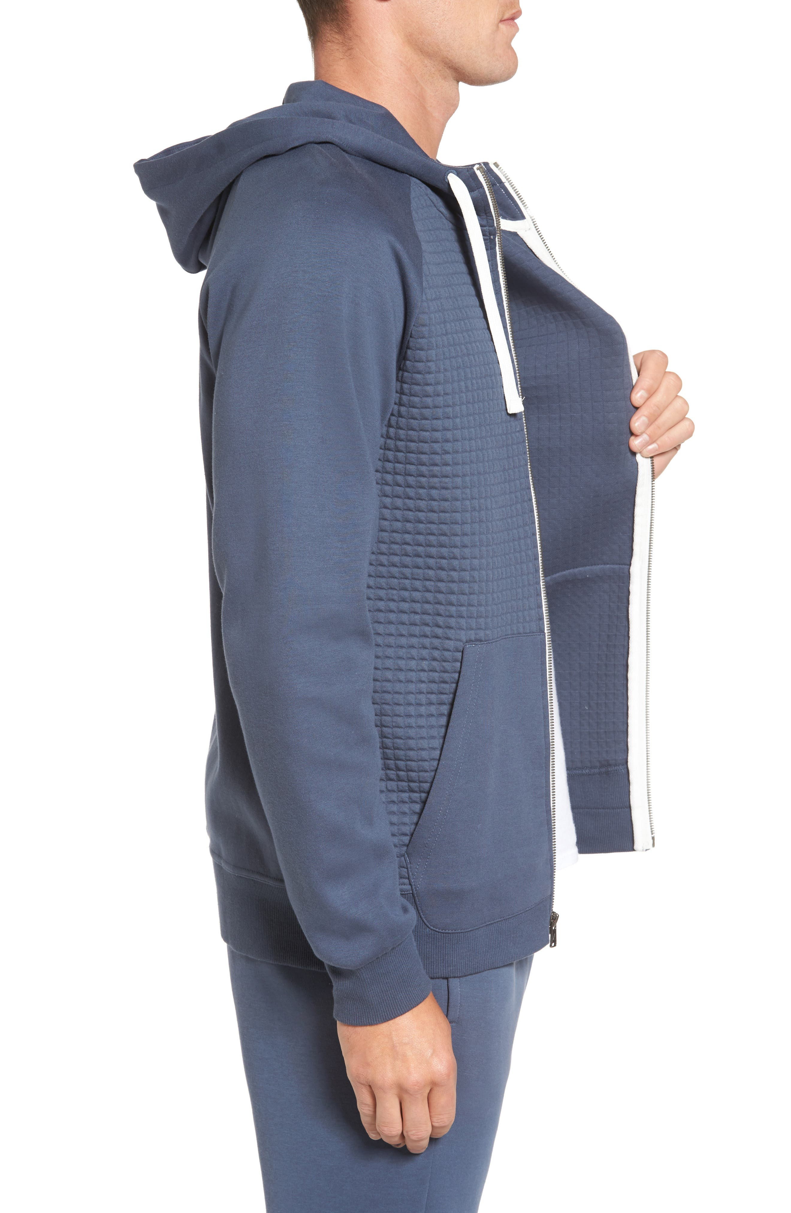 Classic Quilted Zip Hoodie,                             Alternate thumbnail 9, color,