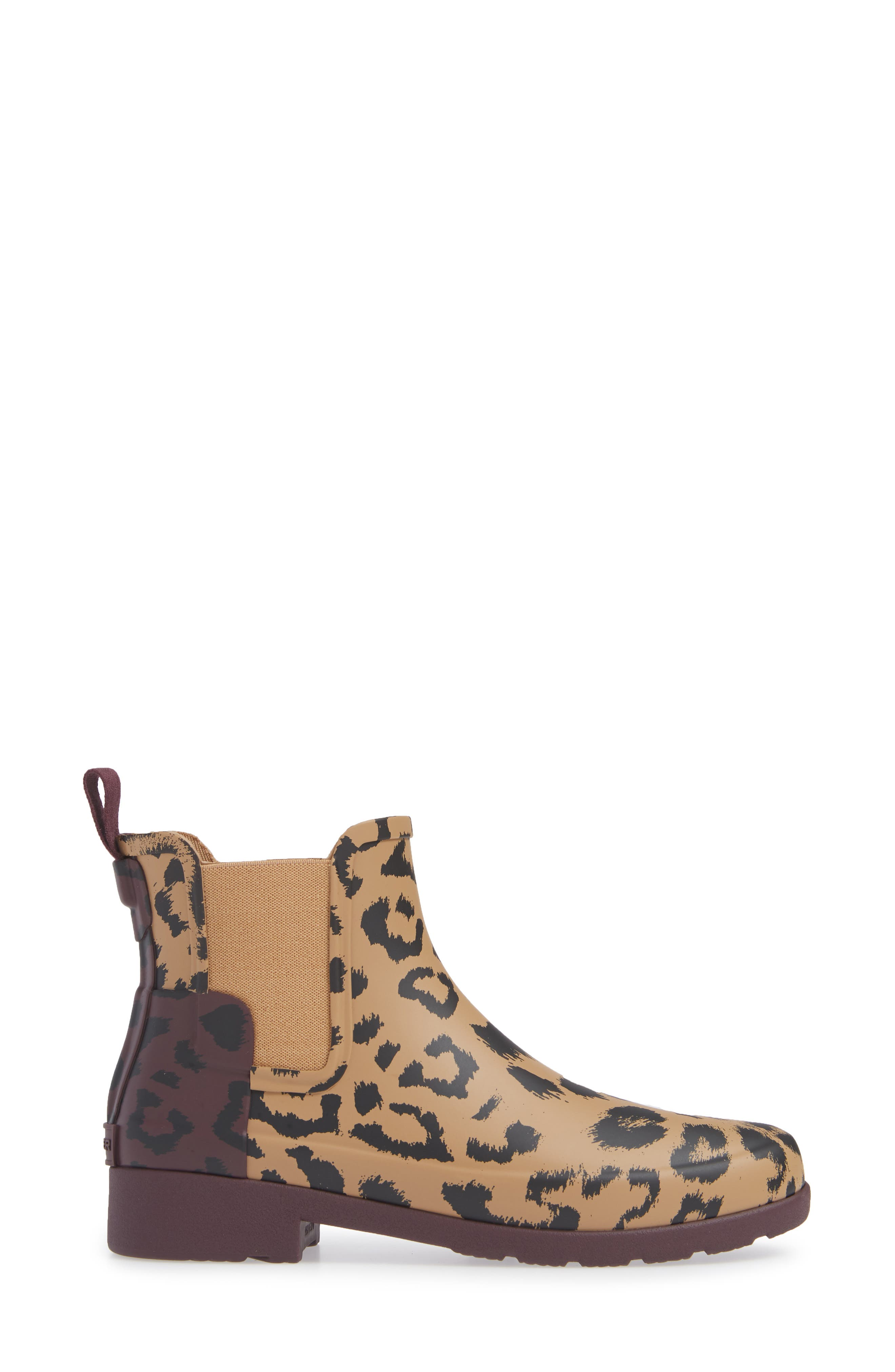 HUNTER,                             Original Leopard Print Refined Chelsea Waterproof Rain Boot,                             Alternate thumbnail 3, color,                             242