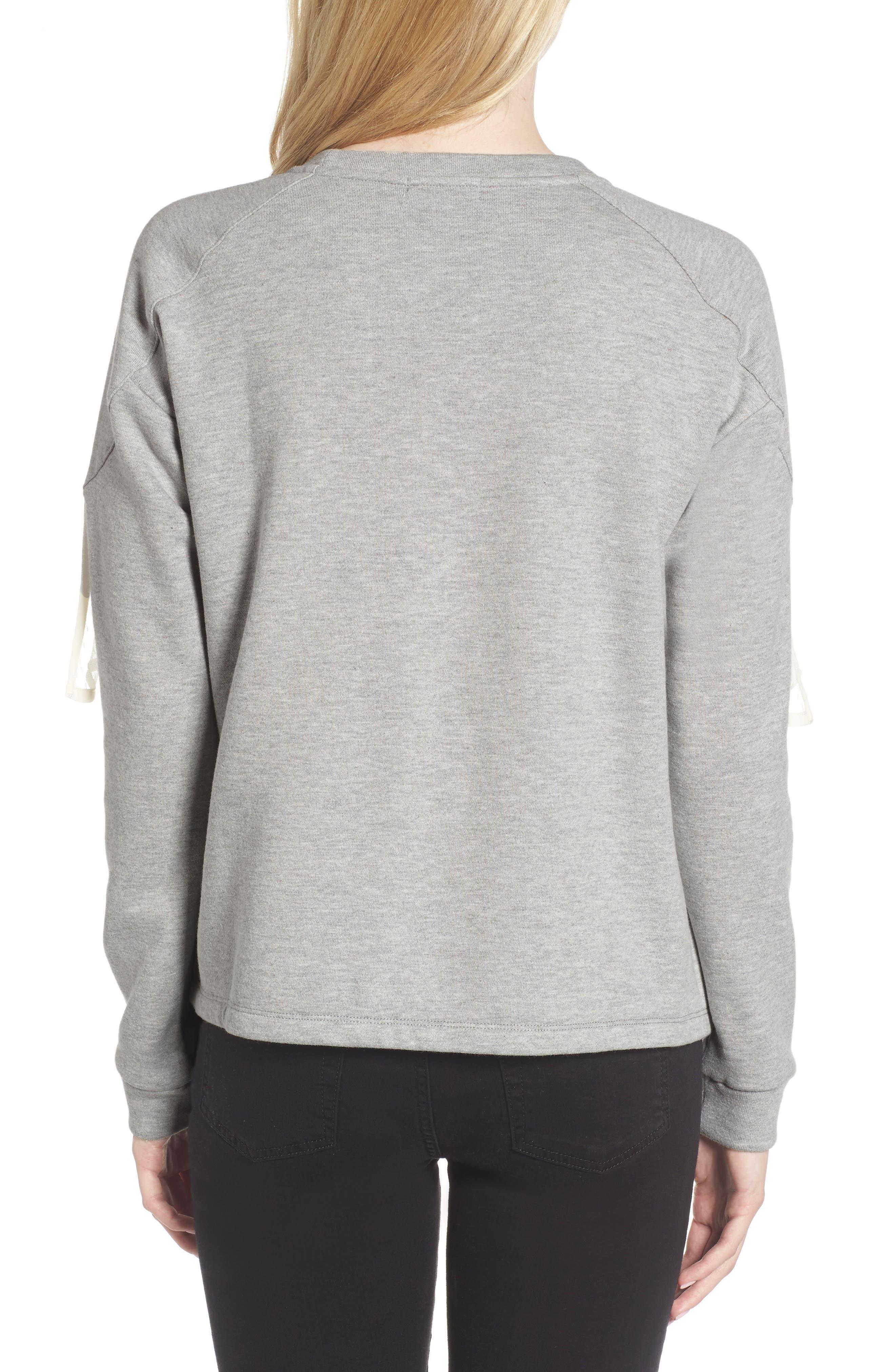 Mesh Ruffle Sweatshirt,                             Alternate thumbnail 2, color,                             033