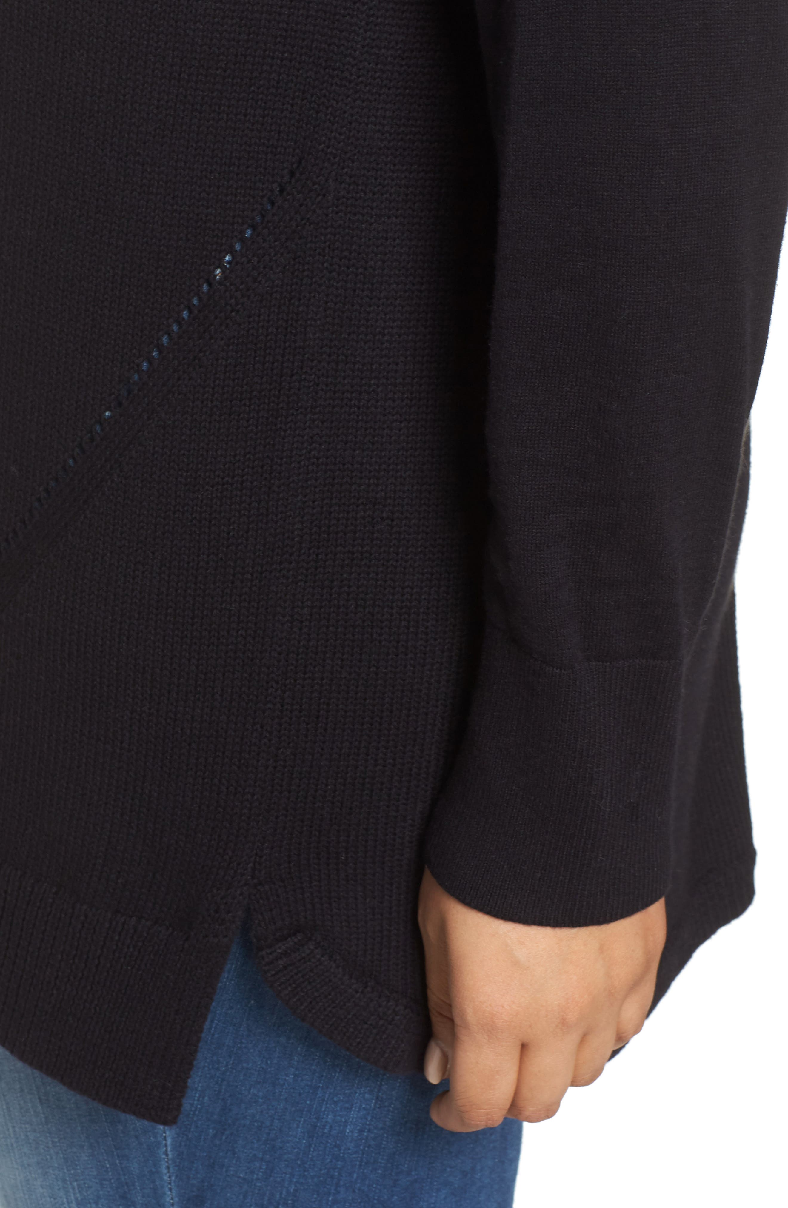 Button Back Tunic Sweater,                             Alternate thumbnail 4, color,                             001