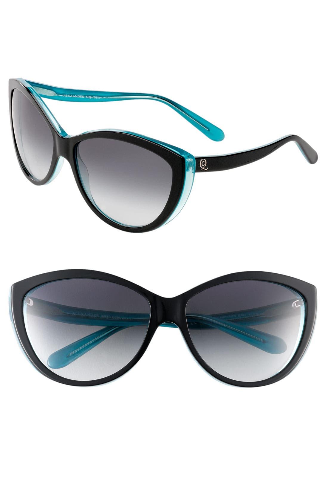 61mm Two-Tone Cat Eye Sunglasses,                             Main thumbnail 1, color,